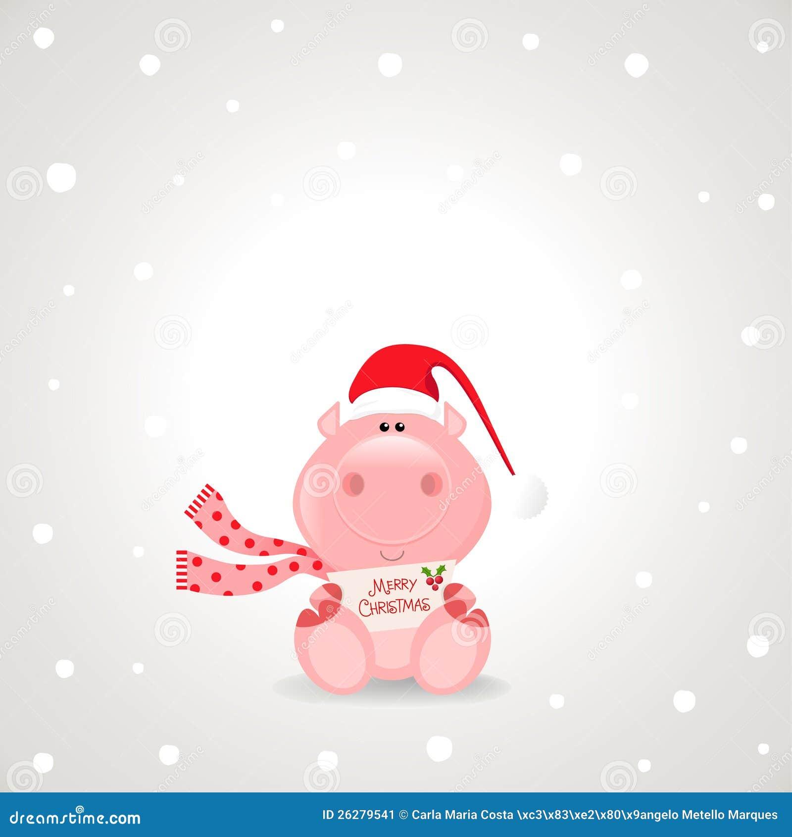 Het thema van kerstmis grappig nam varken houdend een vrolijk