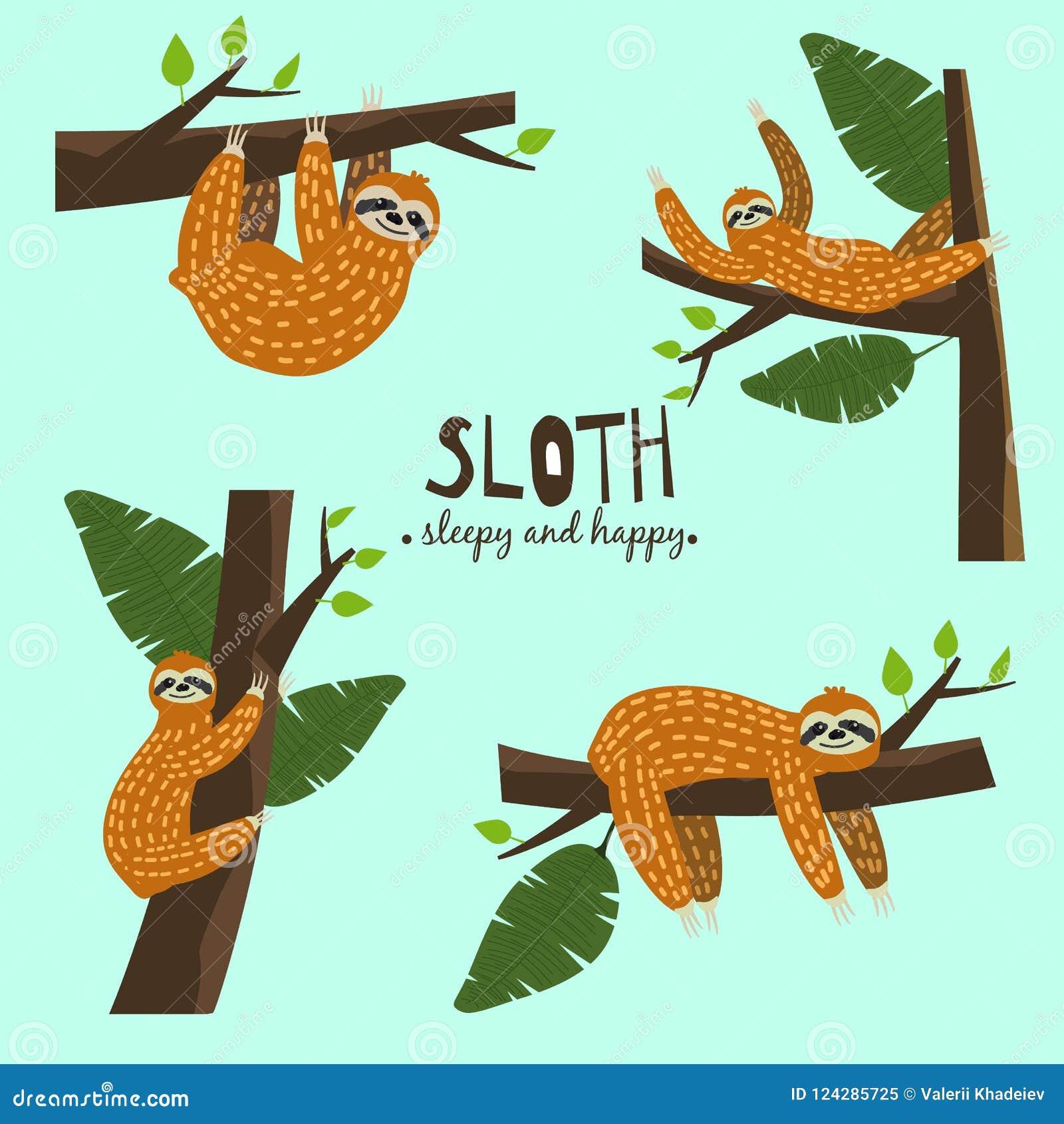 Het vastgestelde Leuke grappige luiaard hangen op de boom Slaperig en gelukkig Aanbiddelijke hand getrokken beeldverhaal dierlijk