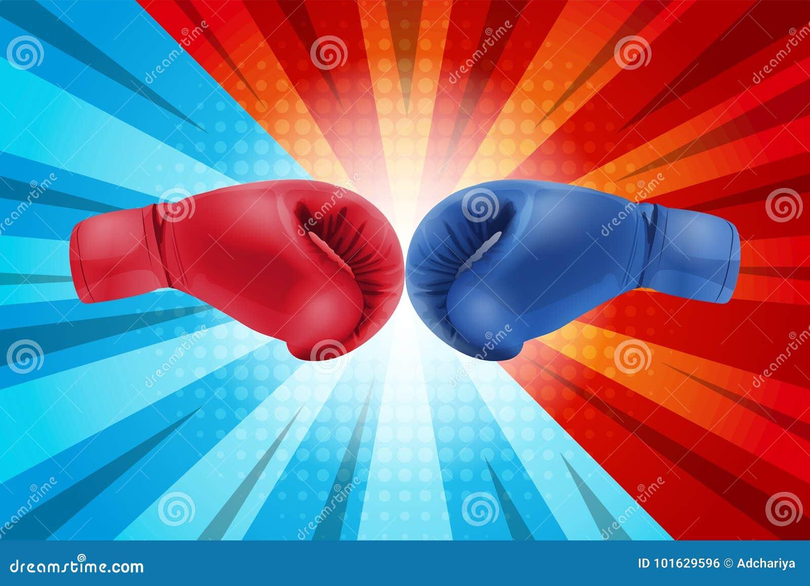 Het vechten voor grappige achtergrond Bokshandschoenenrood en Blauw die samen op grappige achtergrond raken