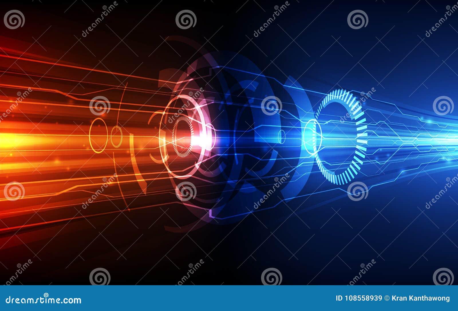 Het vector Abstracte futuristische systeem van de kringsraad, concept van de de technologie blauwe kleur van de Illustratiehoge s