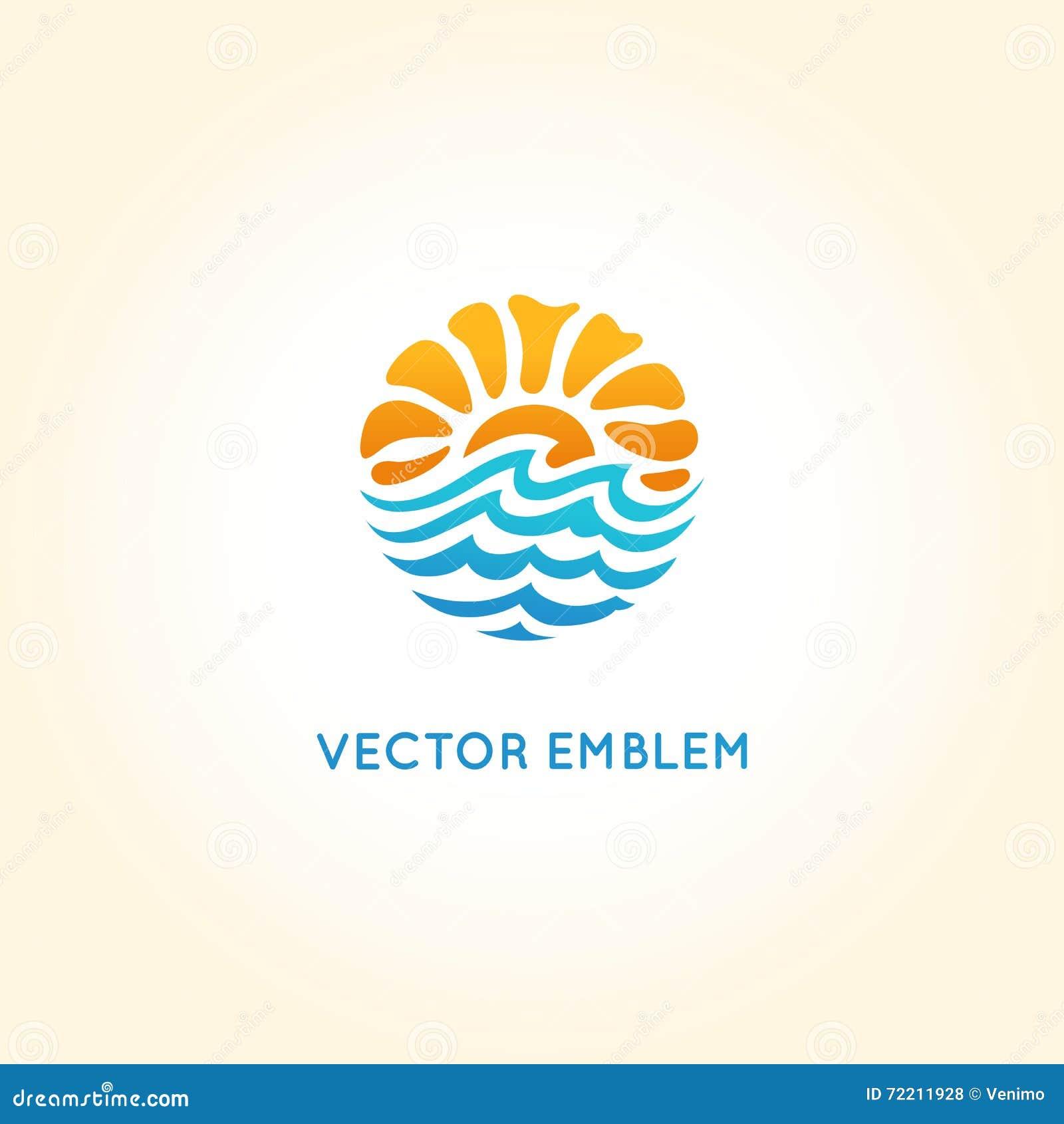 Het vector abstracte malplaatje van het embleemontwerp - zon en overzees