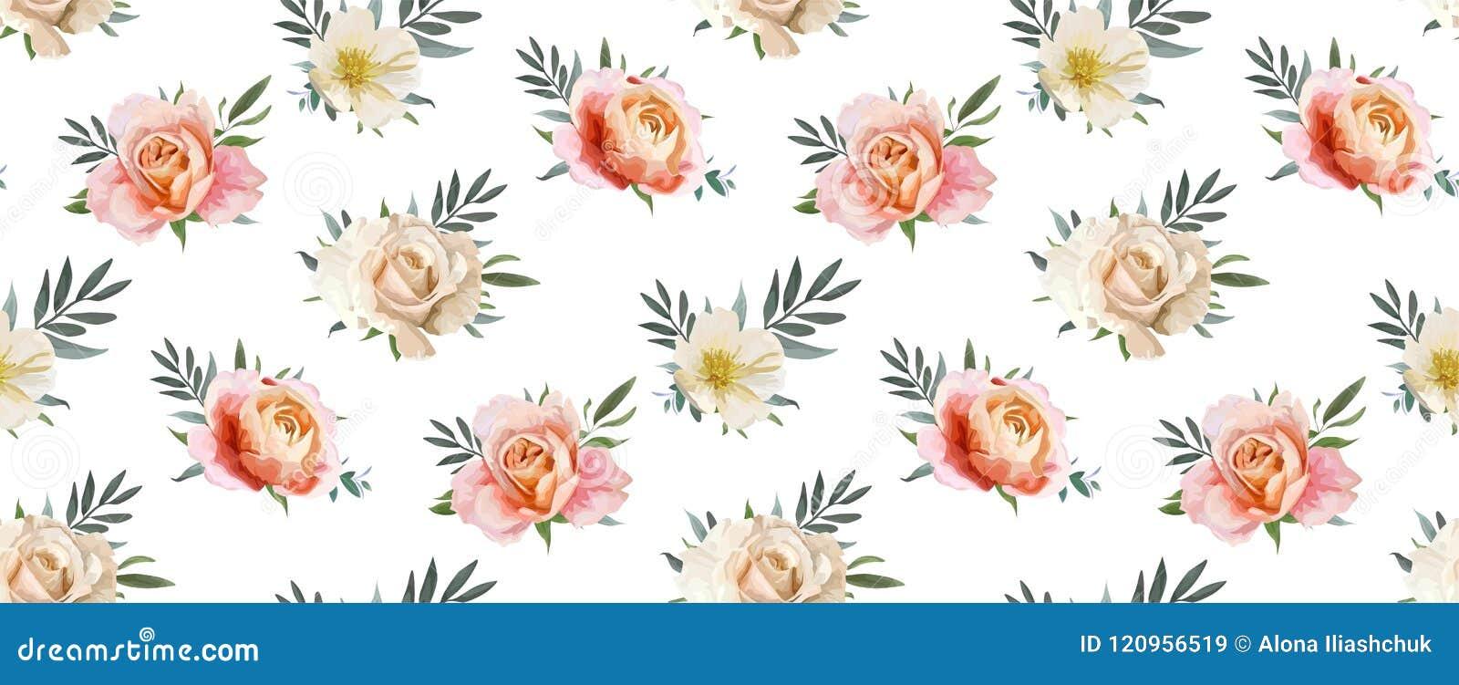 Het vector bloemen naadloze patroon, backgorund ontwerpt: tuin roze p