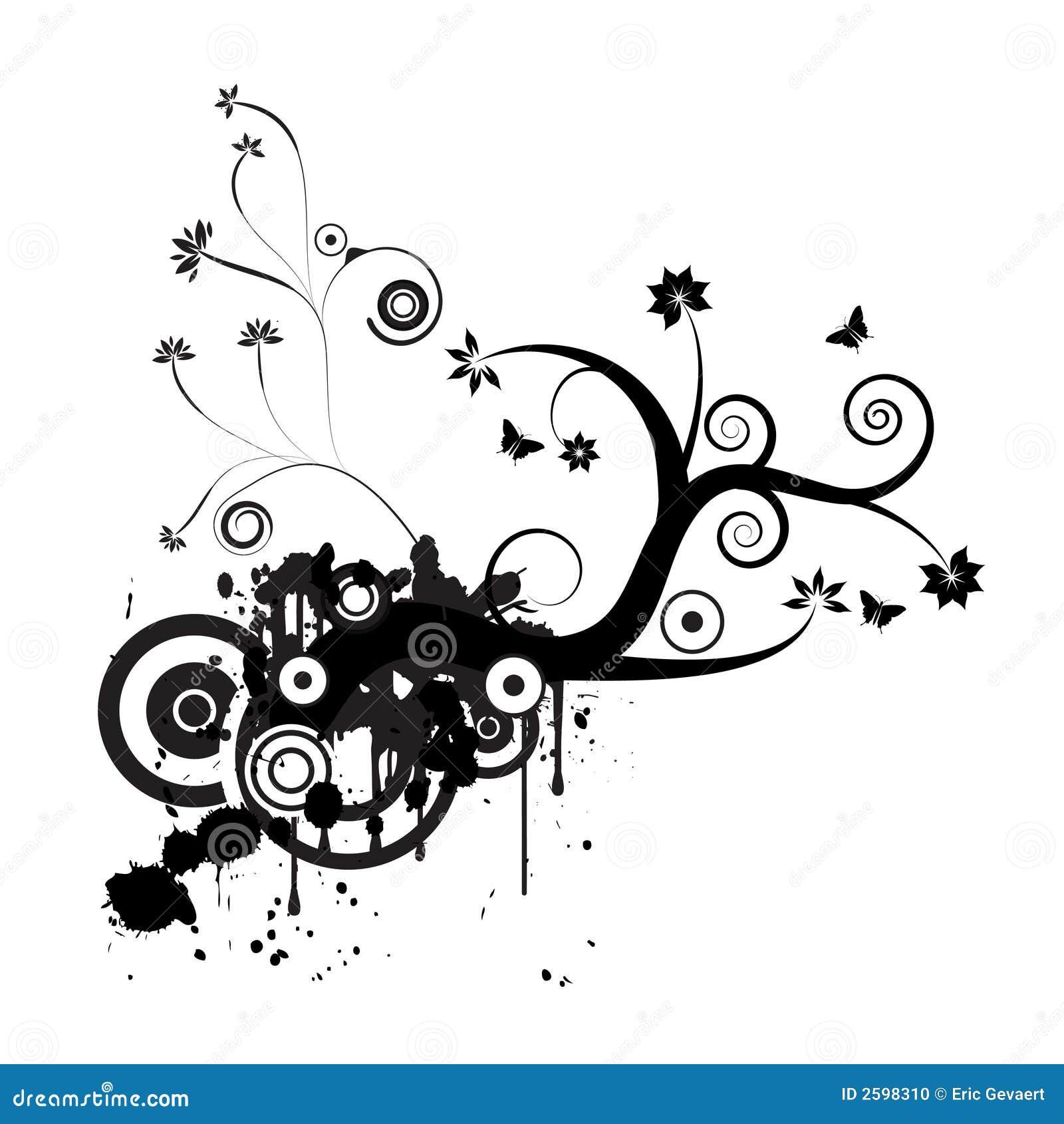 Het vector bloemenontwerp van Grunge