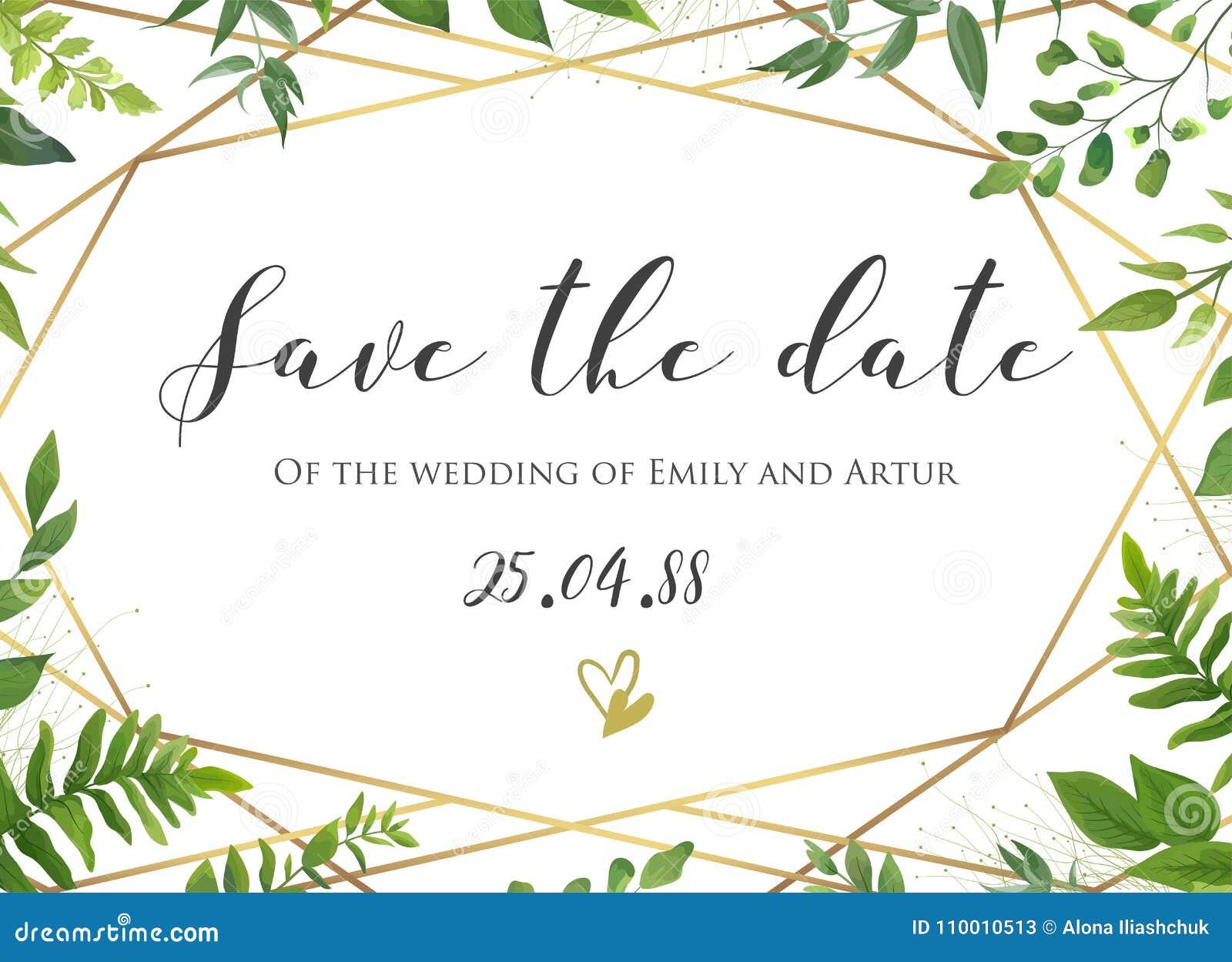 Het vector botanische Huwelijk bloemen sparen de datum, nodigt kaartelega uit