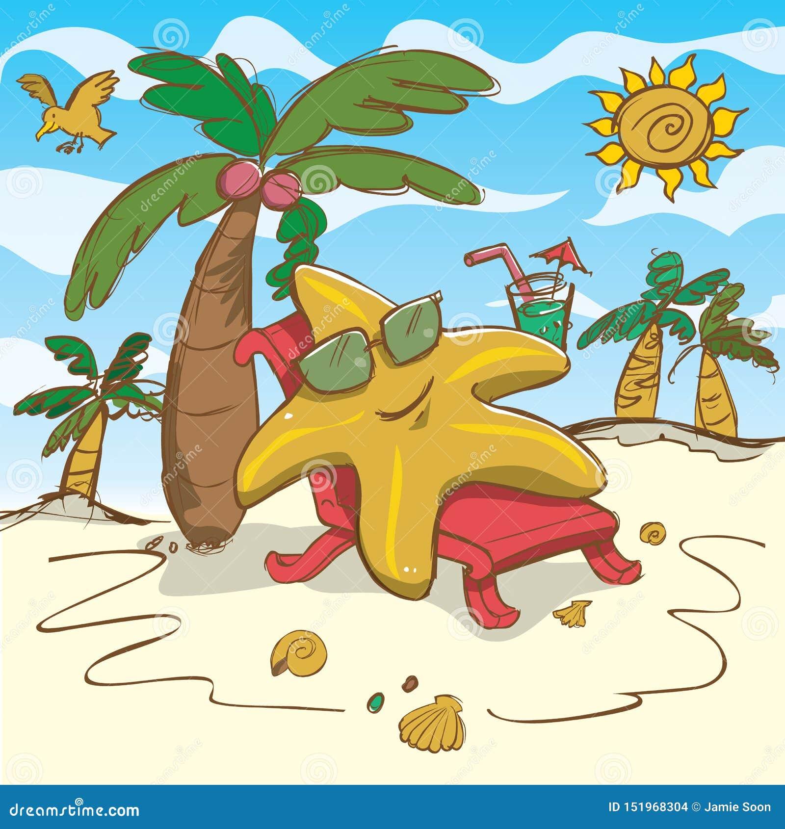 Het vector de illustratie van de beeldverhaalzeester ontspannen op het strand
