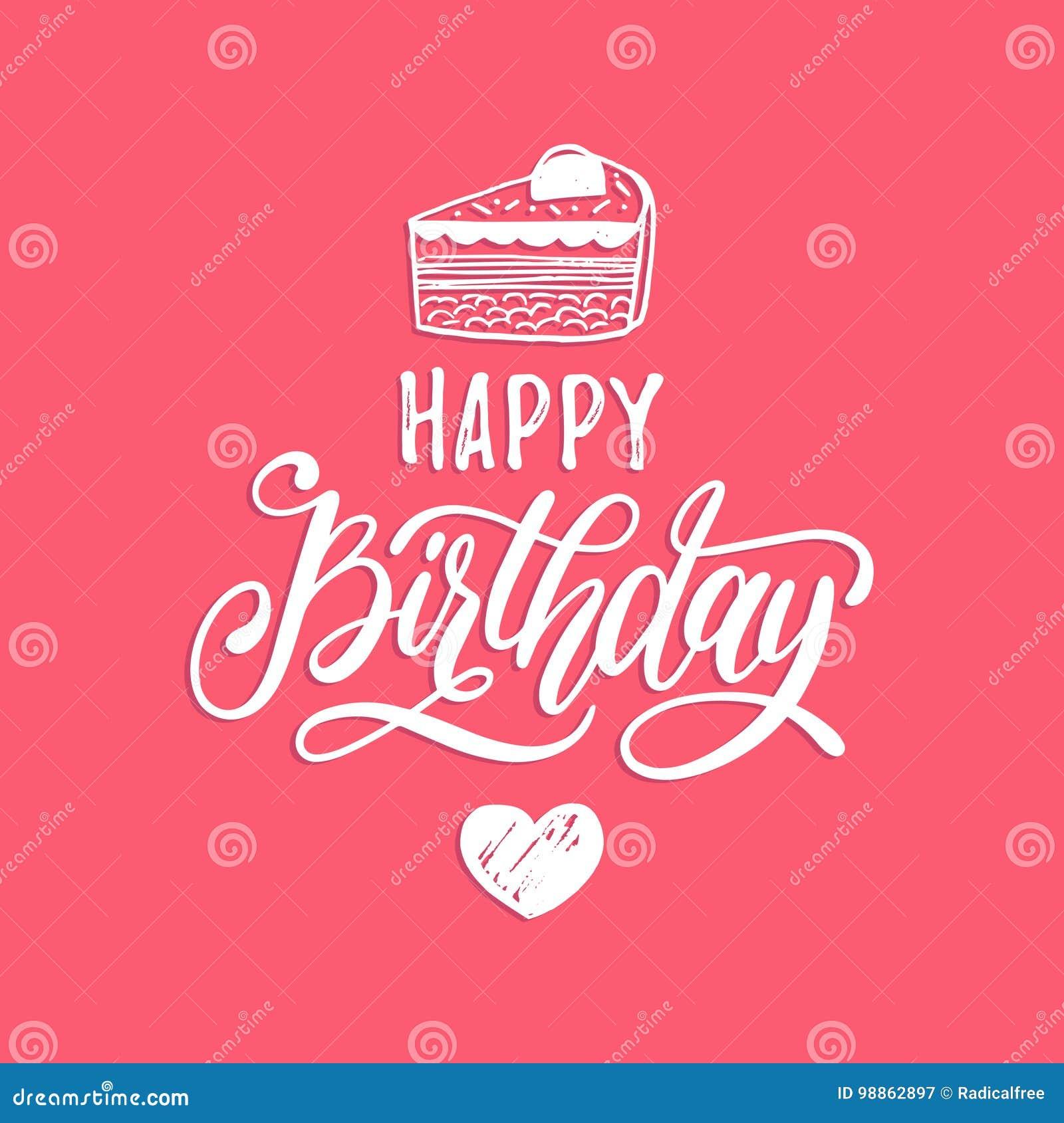Het vector Gelukkige Verjaardagshand van letters voorzien voor groet of uitnodigingskaart Vakantie typografische affiche met cake