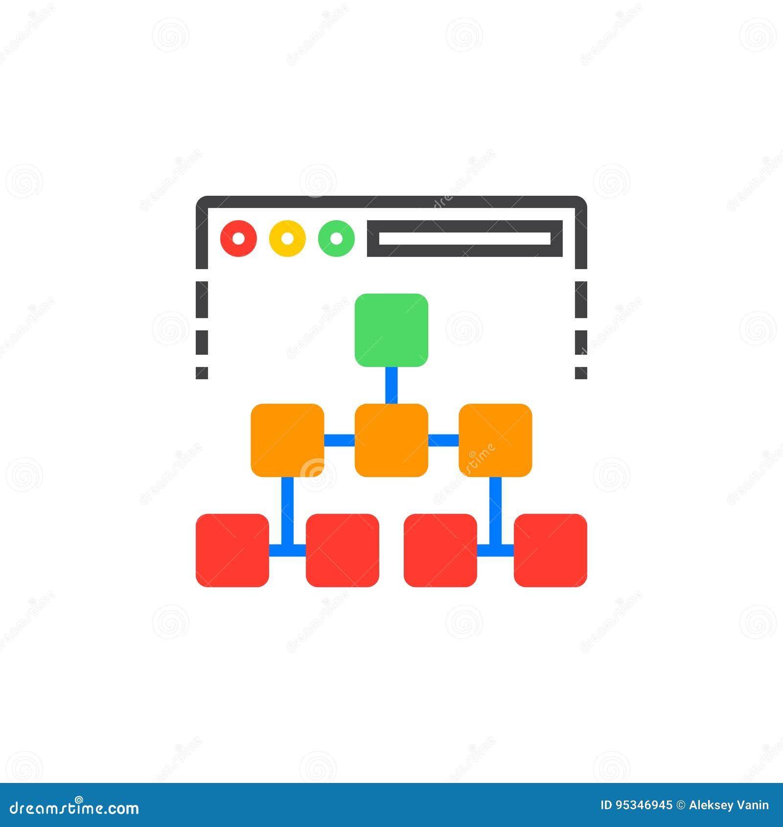 Het vector, gevulde vlakke teken van het overzicht van de websitepictogram, stevig kleurrijk pictogram