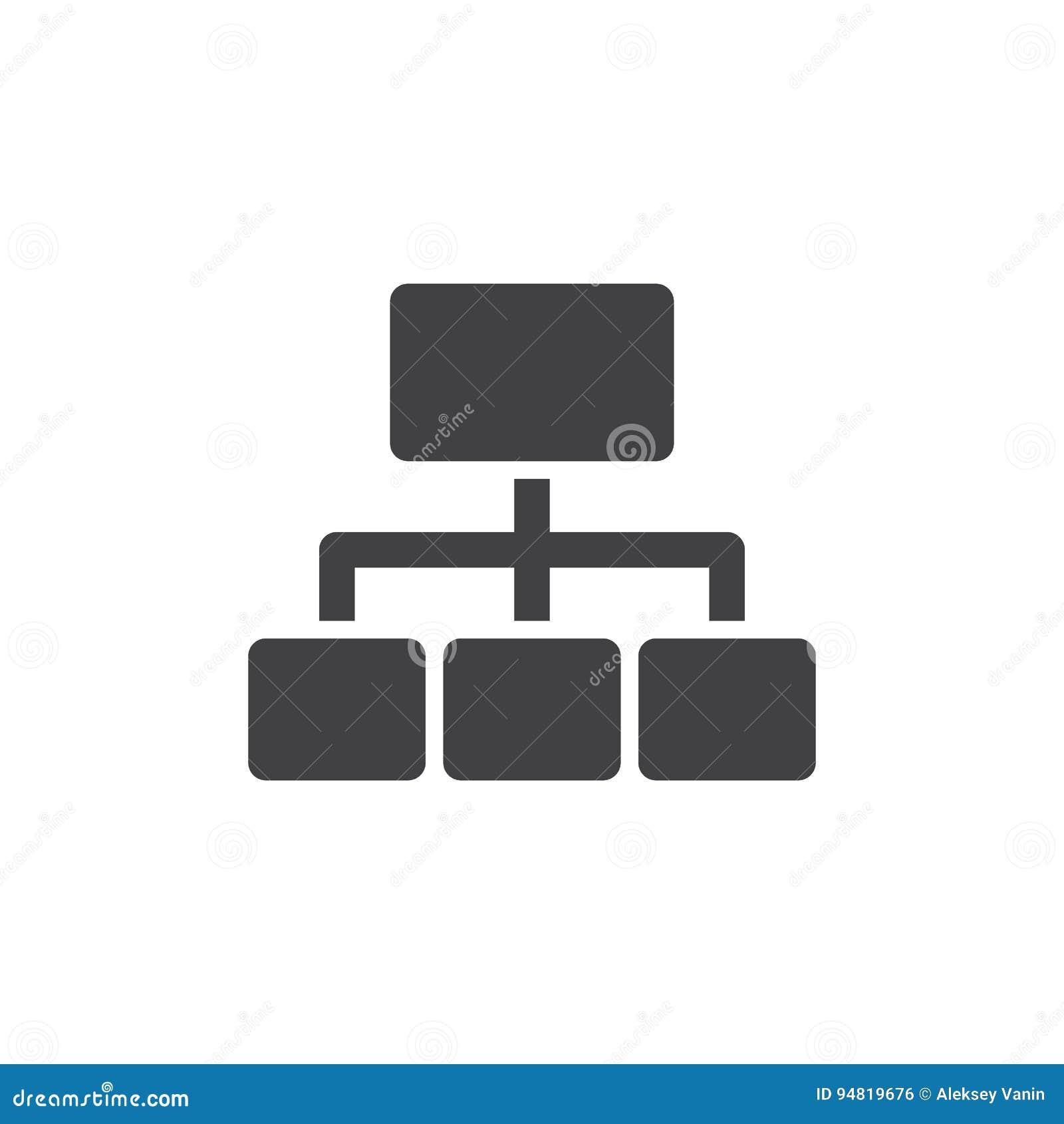 Het vector, gevulde vlakke teken van het Sitemappictogram, stevig die pictogram op wit wordt geïsoleerd