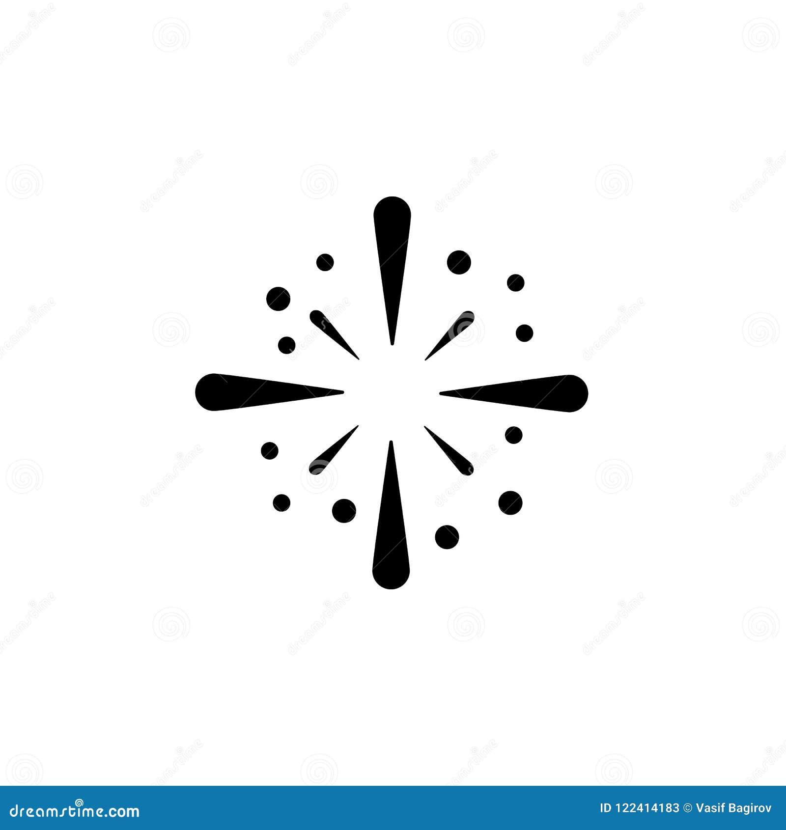 Het vector, gevulde vlakke teken van het vuurwerkpictogram, stevig pictogram dat op wit, embleemillustratie wordt geïsoleerd