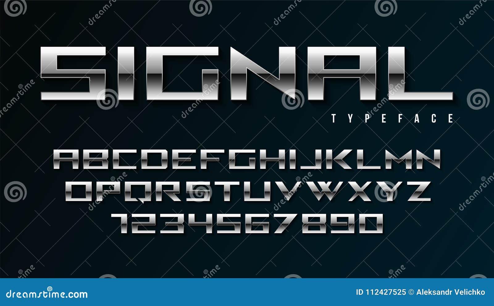 Het vector glanzende zilveren ontwerp van de vertoningsdoopvont, alfabet