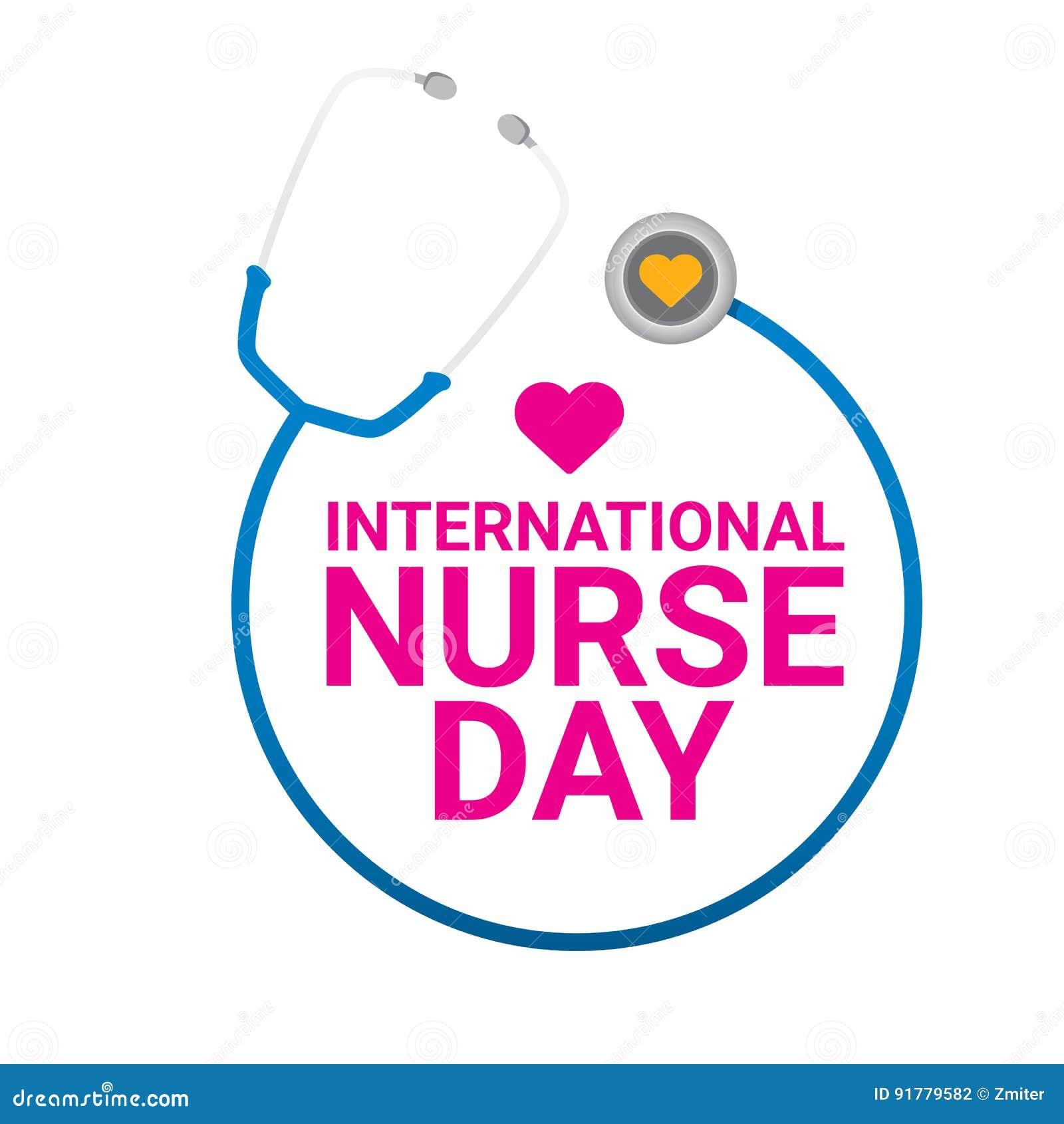 Het vector internationale vectoretiket van de verpleegstersdag