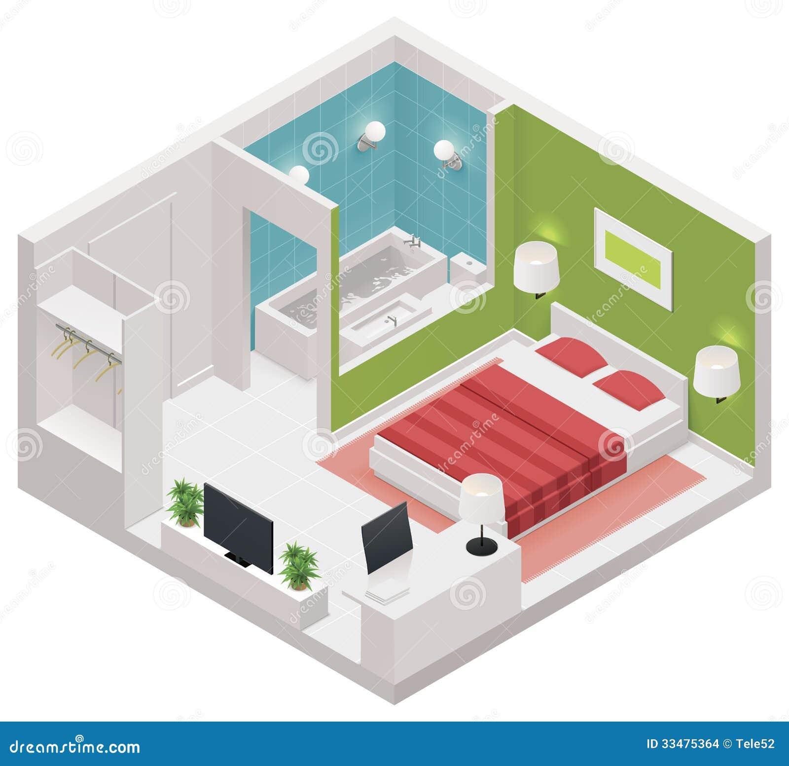 Het vector isometrische pictogram van de hotelruimte