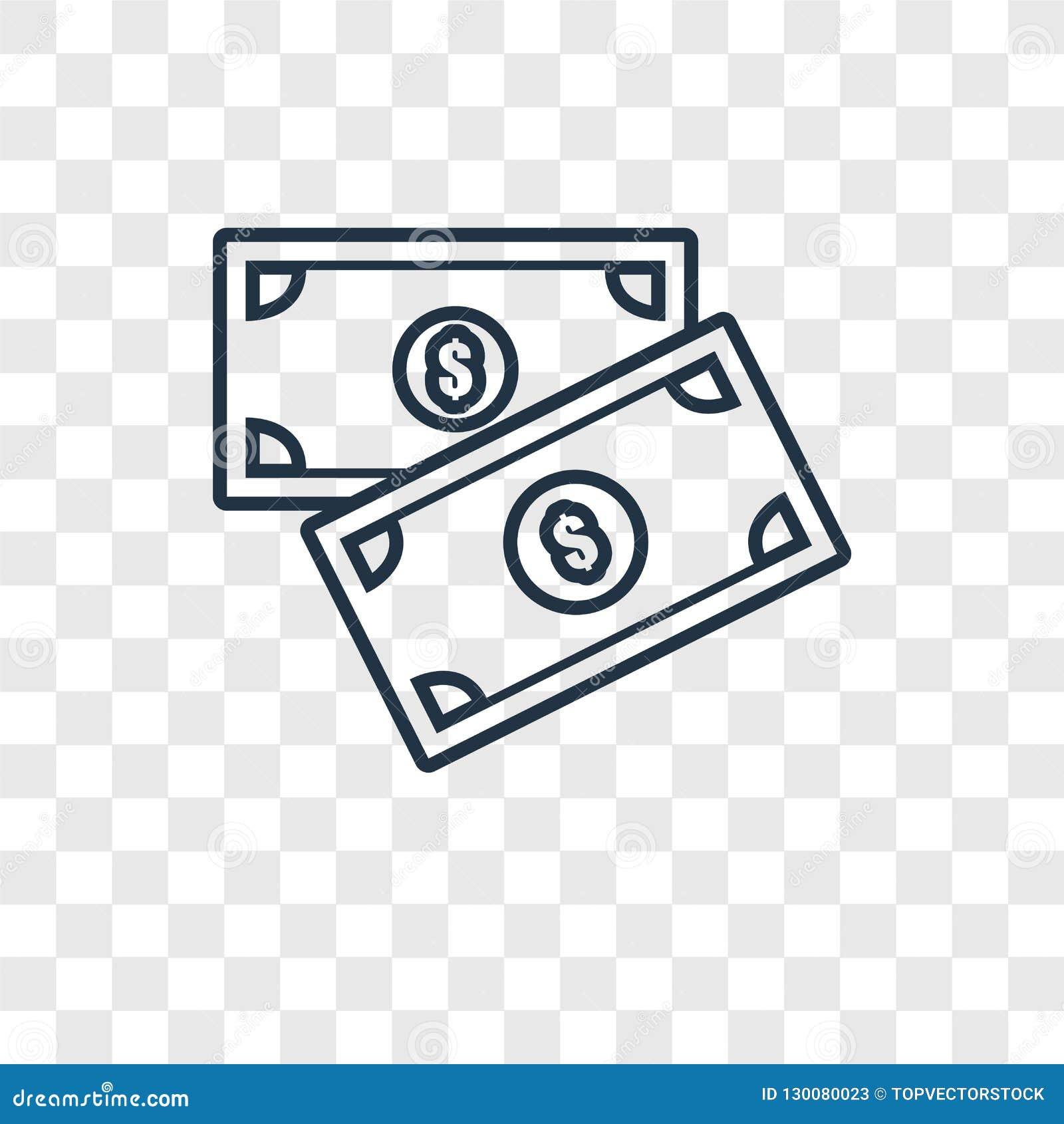 Het vector lineaire die pictogram van het geldconcept op transparante backgro wordt geïsoleerd