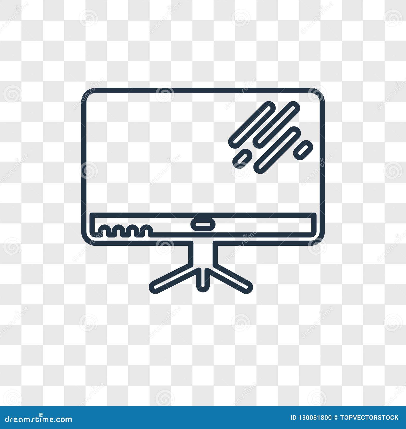 Het vector lineaire die pictogram van het televisieconcept op transparante bedelaars wordt geïsoleerd