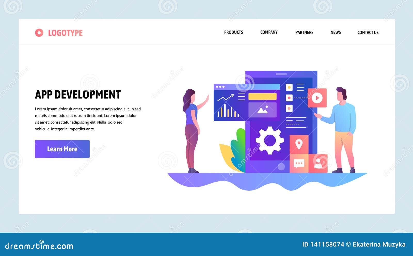 Het vector malplaatje van het websiteontwerp App ontwikkeling, het Mobiele ontwerp van UI UX, dashboard Het landen paginaconcepte