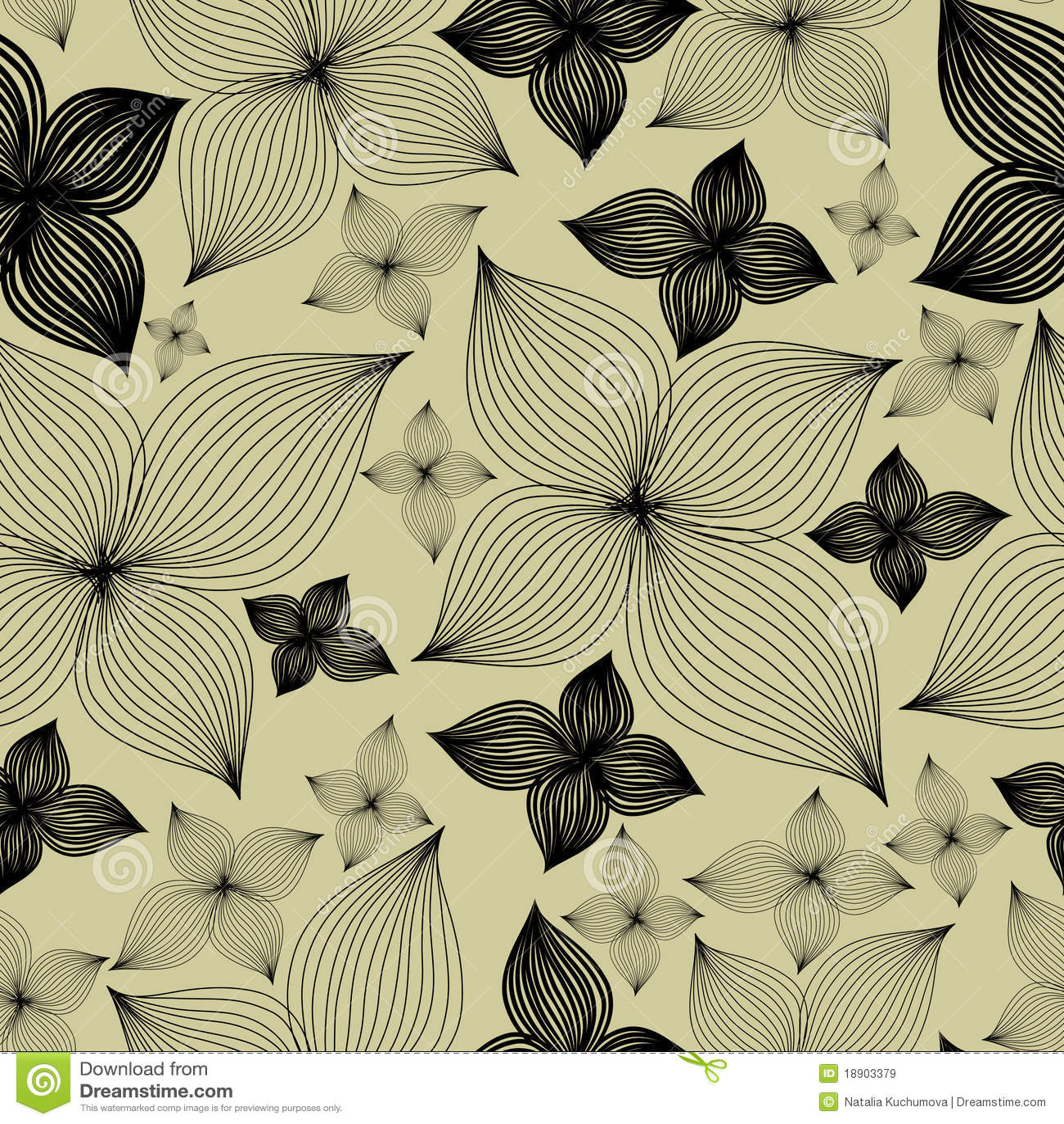 Het vector Naadloze bloemenpatroon met lilly bloeit
