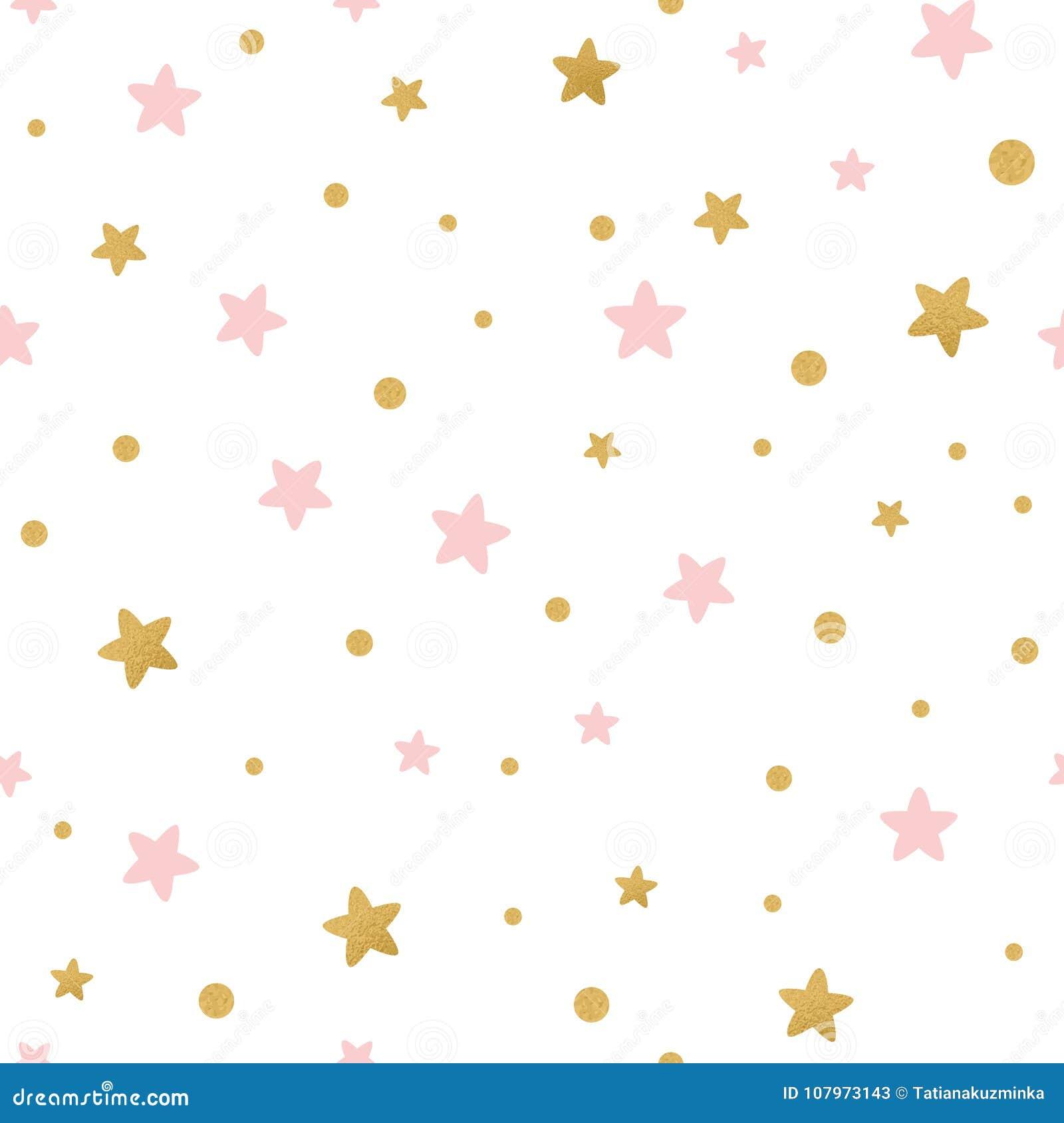 Het vector naadloze patroon decoreted gouden roze sterren voor Kerstmis backgound of de textiel van de babydouche