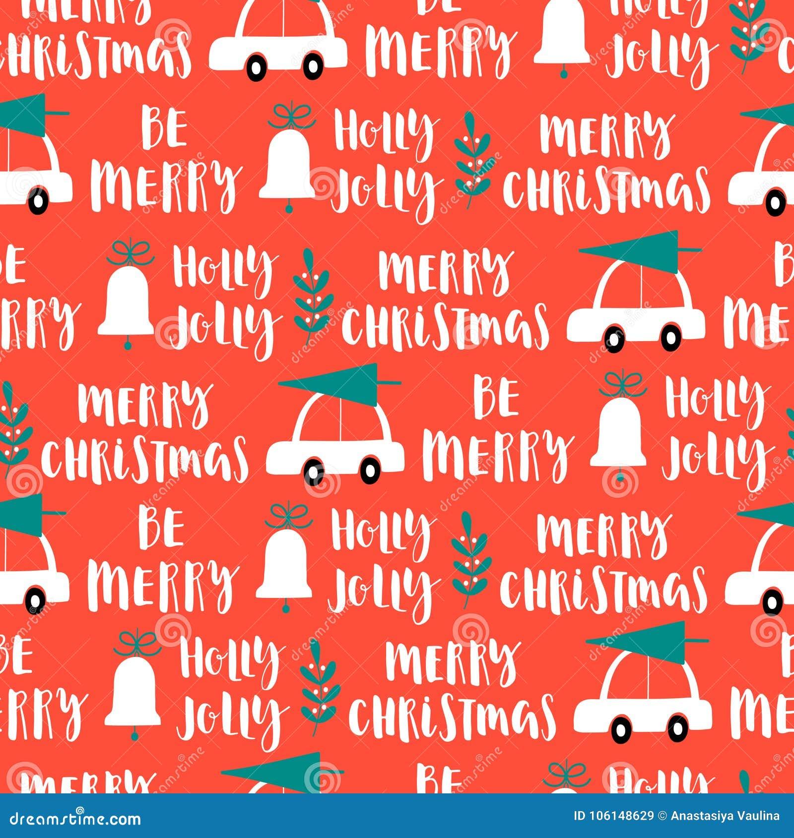 Het vector naadloze patroon van Kerstmiswoorden op rode achtergrond