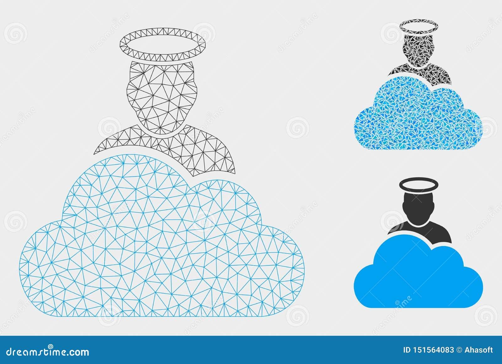 Het Vector het Netwerk 2D Model van de wolkengod en Pictogram van het Driehoeksmozaïek