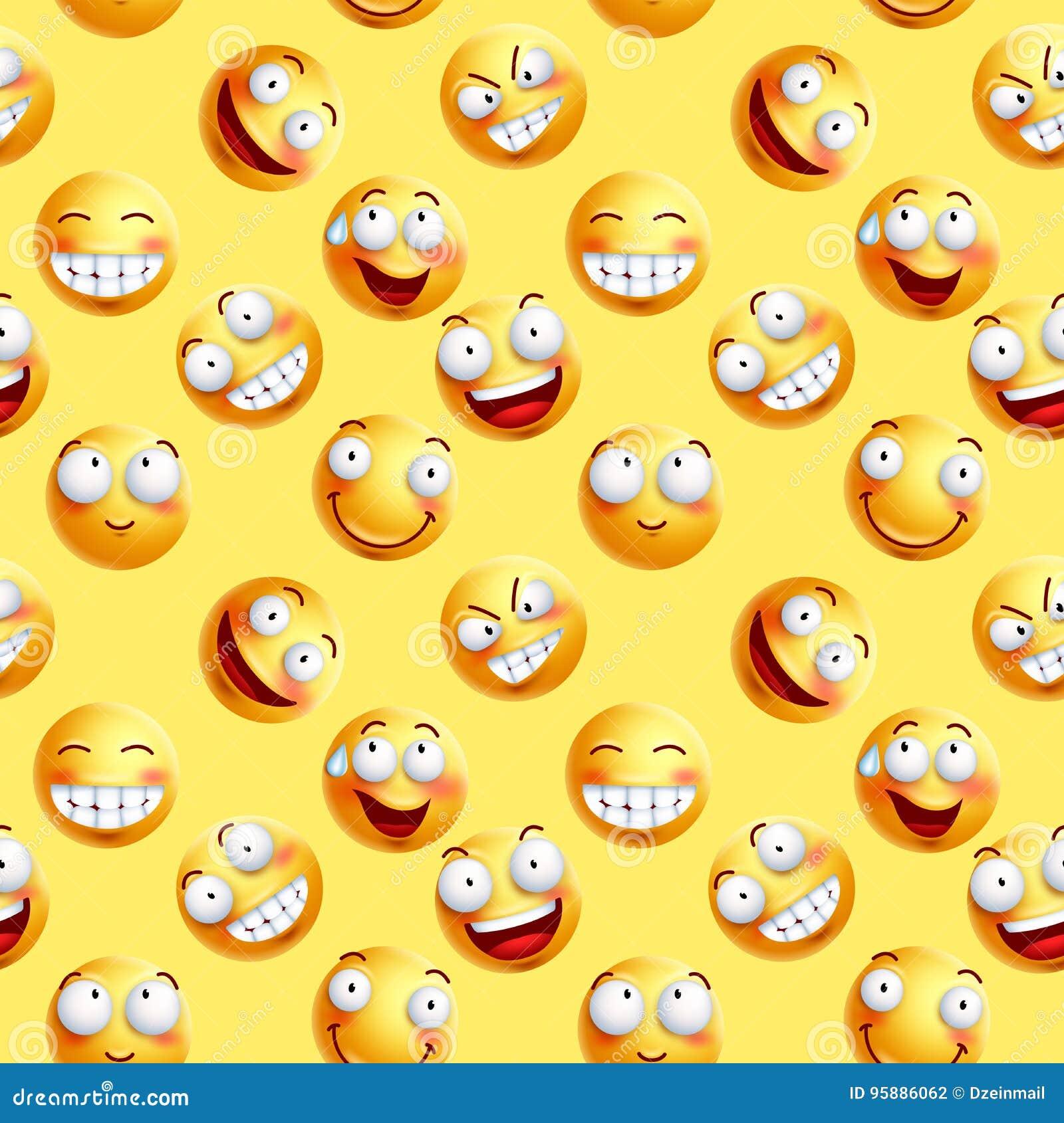 Het vector ononderbroken patroon van het smileysbehang met naadloze gelaatsuitdrukkingen