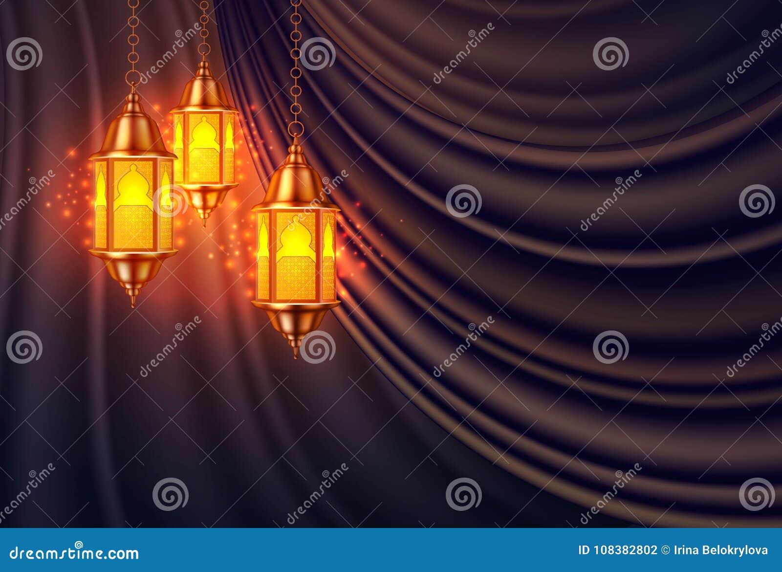Het vector ramadan realistische gordijn van de kareemlantaarn