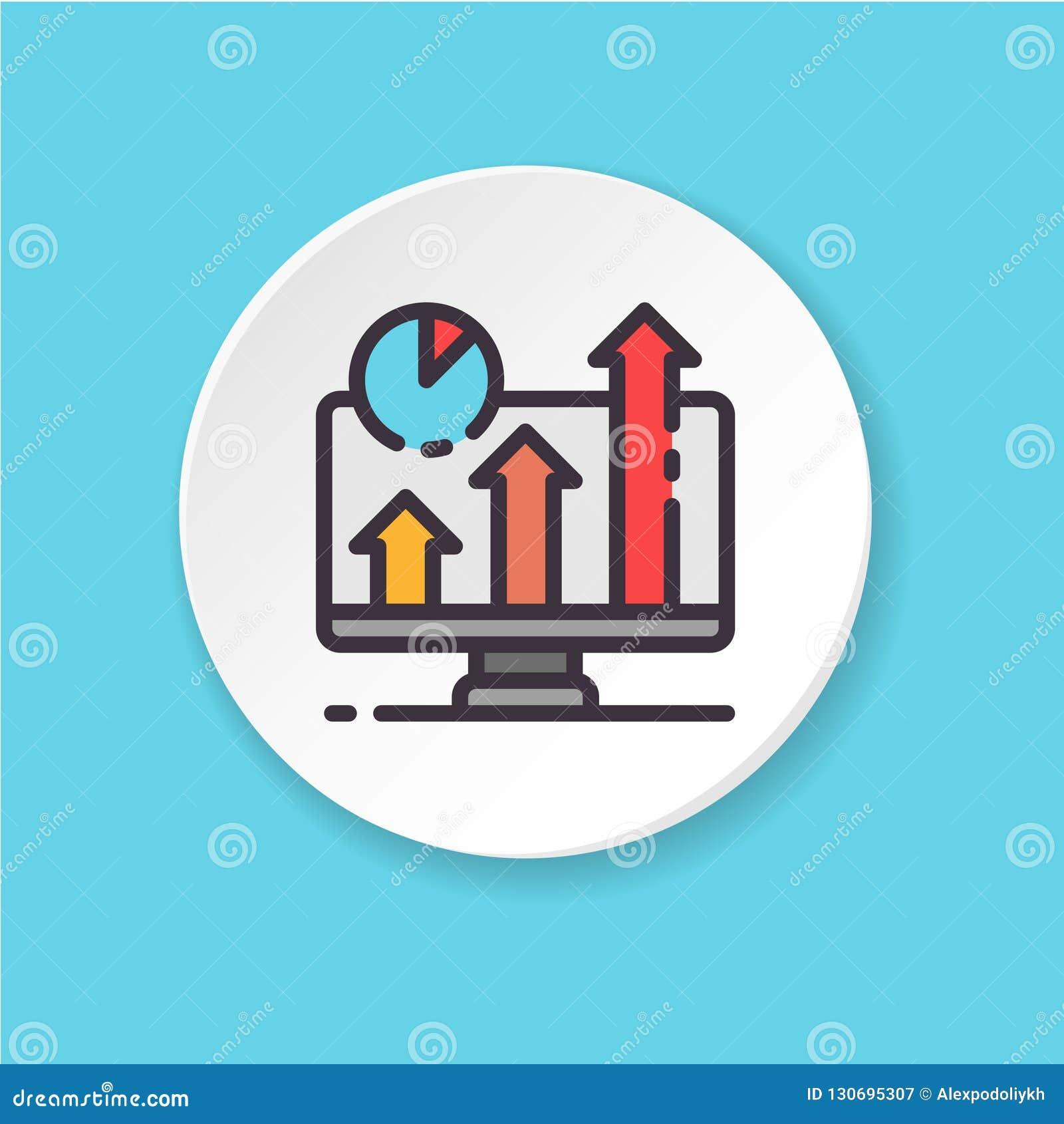 Het vector vlakke pictogram bedrijfsscherm Knoop voor Web of mobiele app