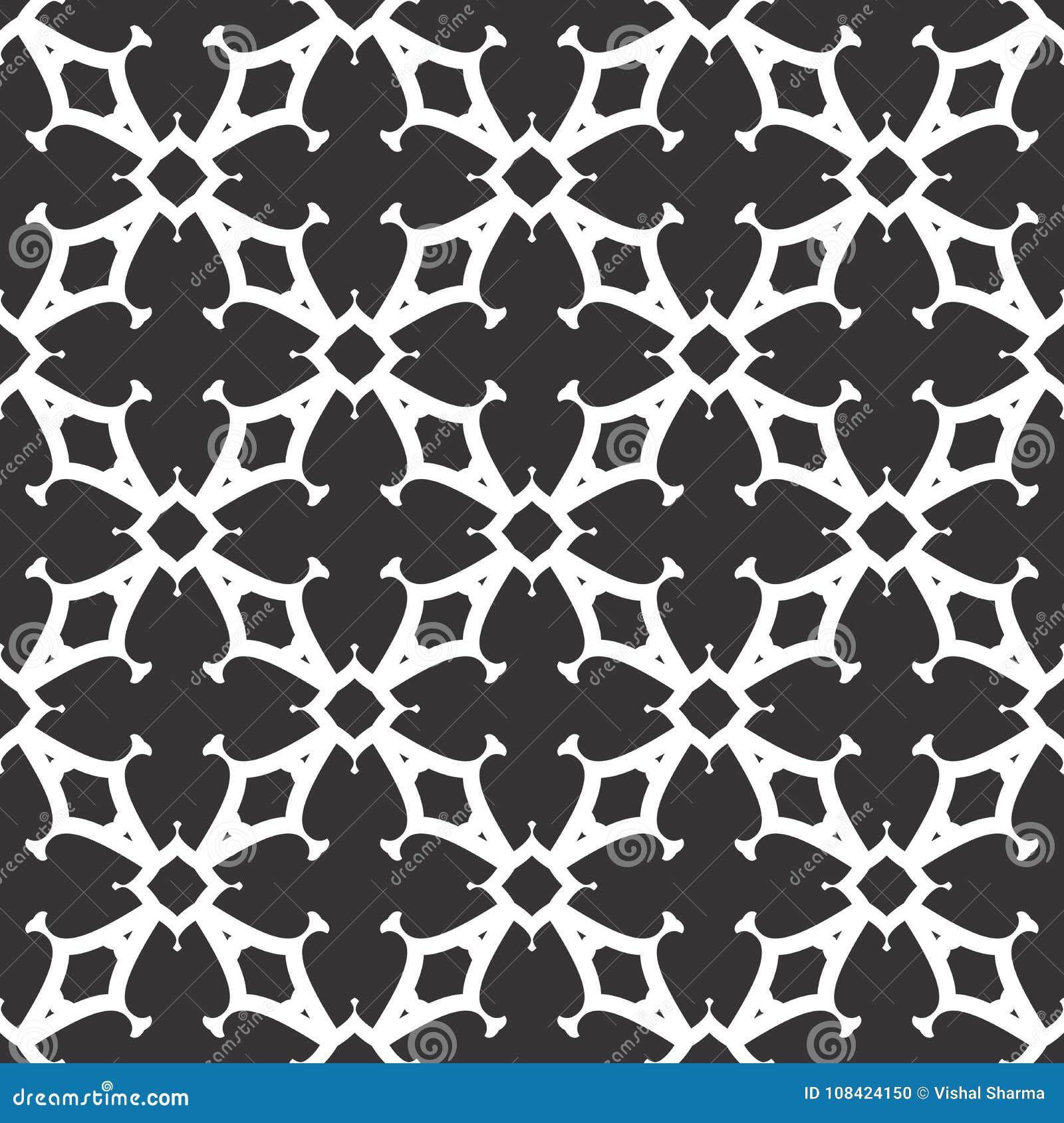 Het vector zwarte wit herhaalt ontwerpen