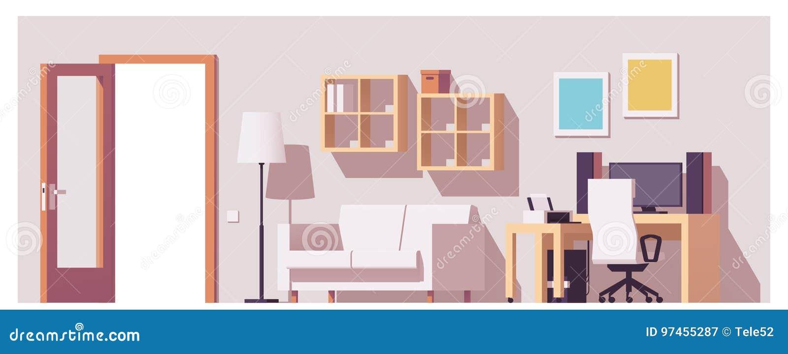Het vectorbinnenland van het huisbureau