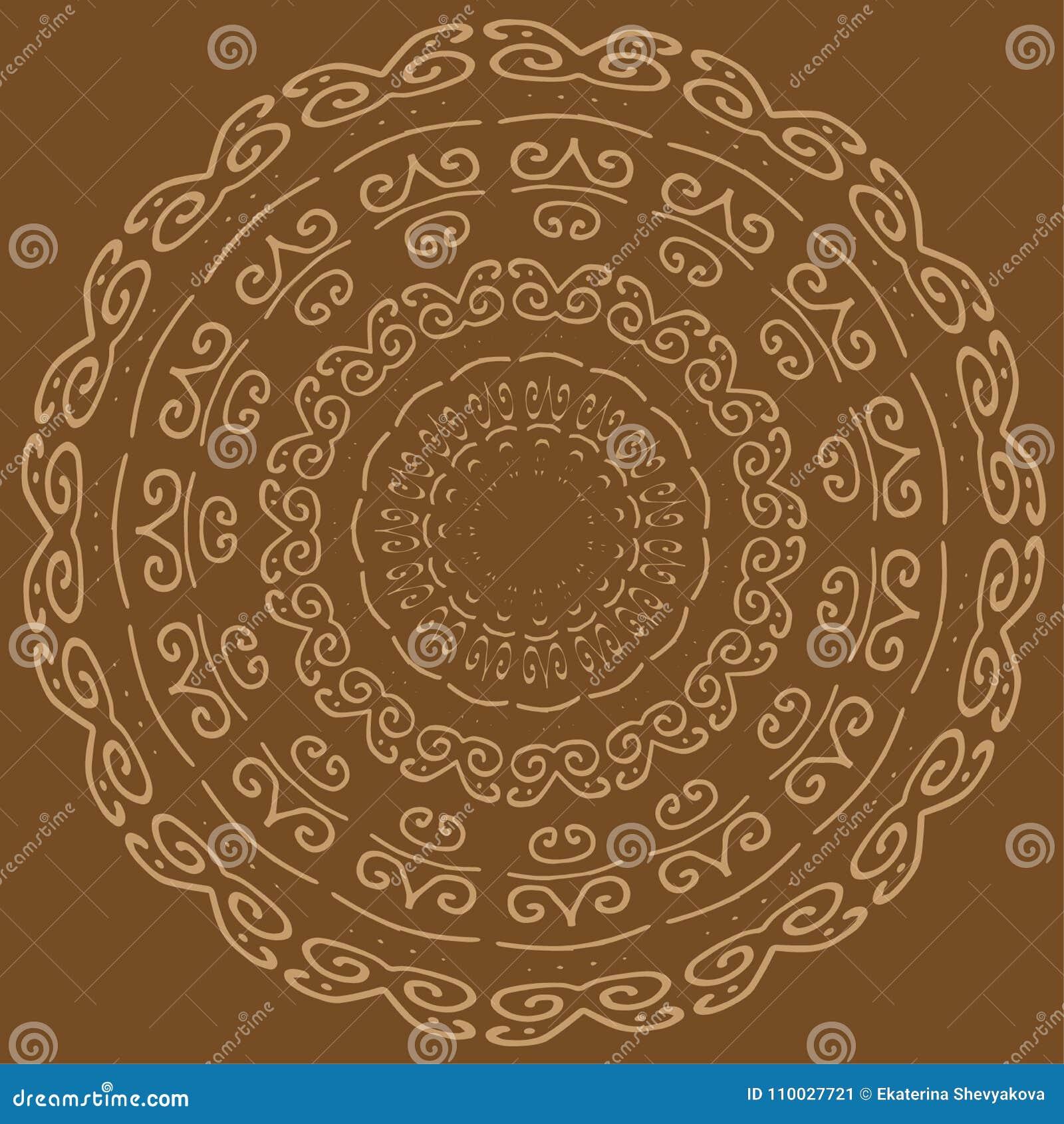 Het vectorcirkelpatroon, mooie mandala, siert bruin