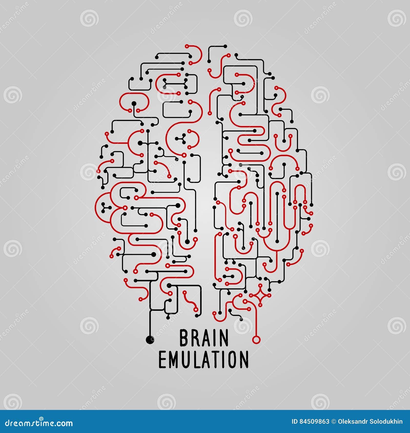 Het vectorconcept van Illustratiehersenen in lijnstijl, voor technolog, creatief ontwerp Gestileerde hersenen Elektronische menin