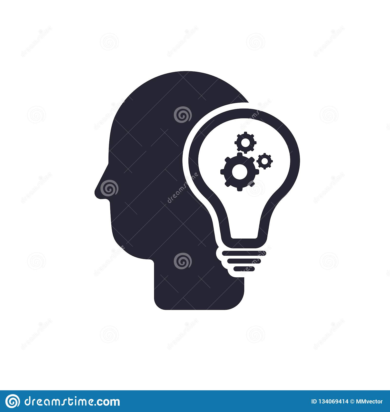 Het het vectordieteken en symbool van het ideepictogram op witte achtergrond, het concept van het Ideeembleem wordt geïsoleerd