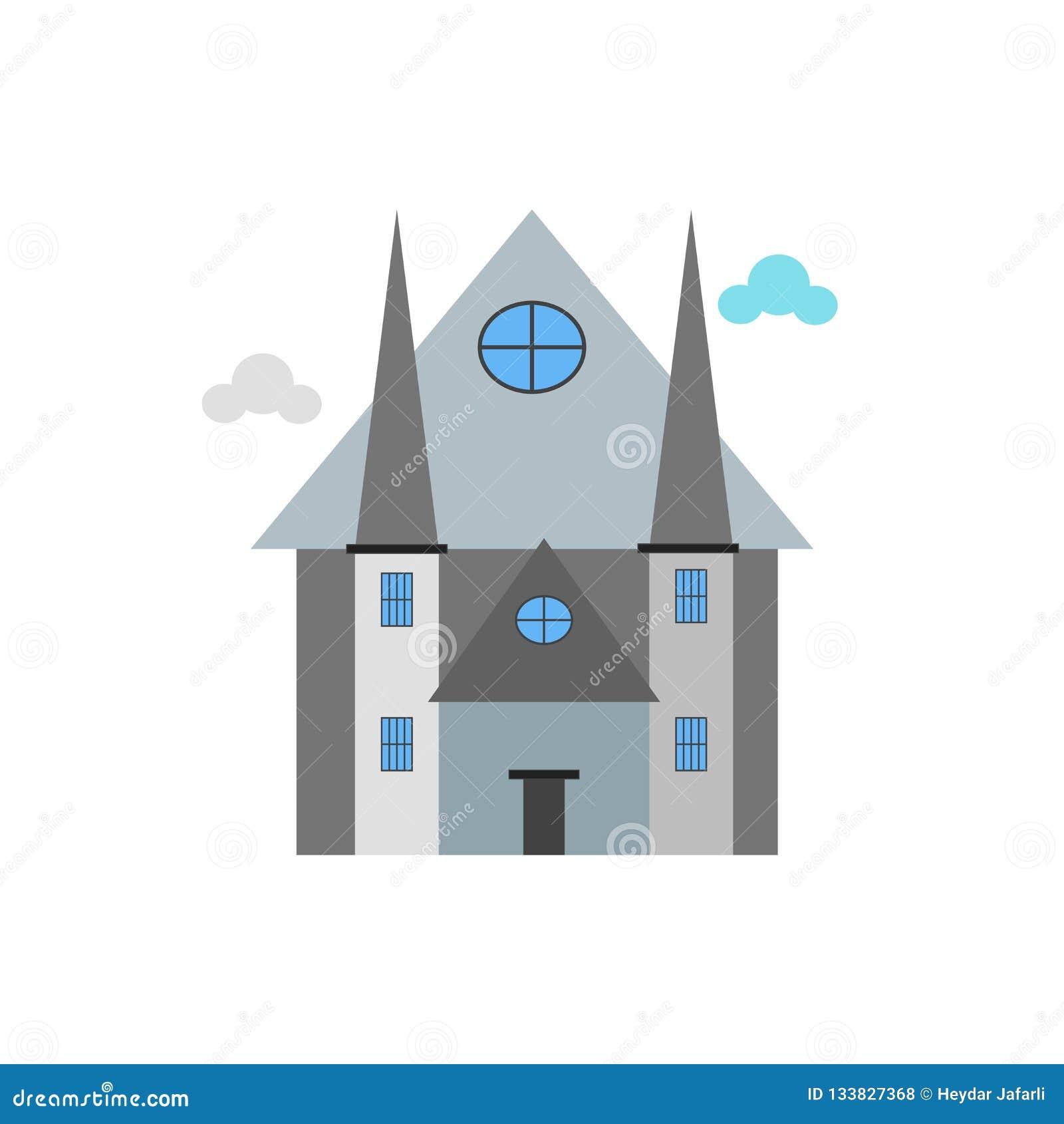 Het het vectordieteken en symbool van het kathedraalpictogram op witte backgrou wordt geïsoleerd