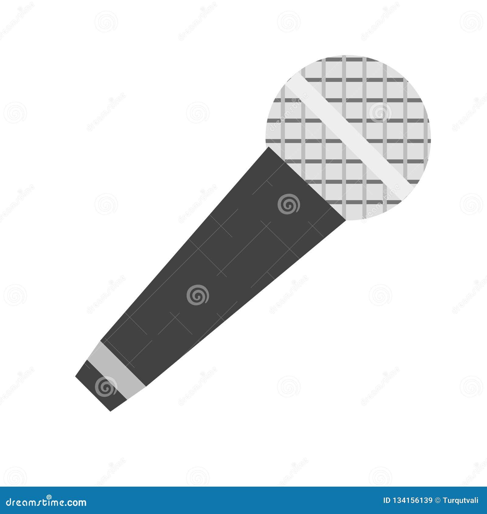 Het het vectordieteken en symbool van het microfoonpictogram op witte achtergrond, het concept van het Microfoonembleem wordt geï