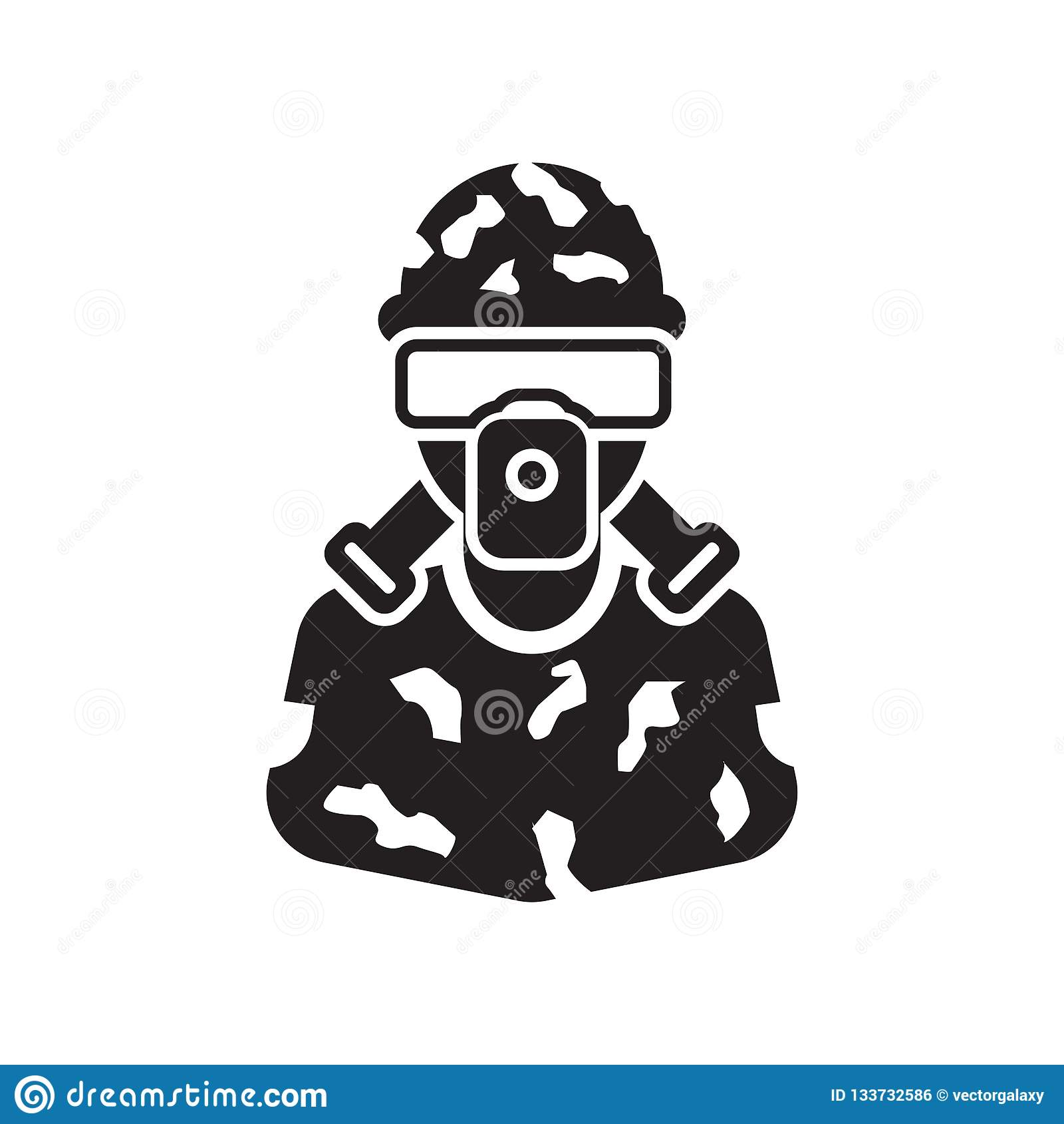 Het het vectordieteken en symbool van het militairpictogram op witte achtergrond wordt geïsoleerd