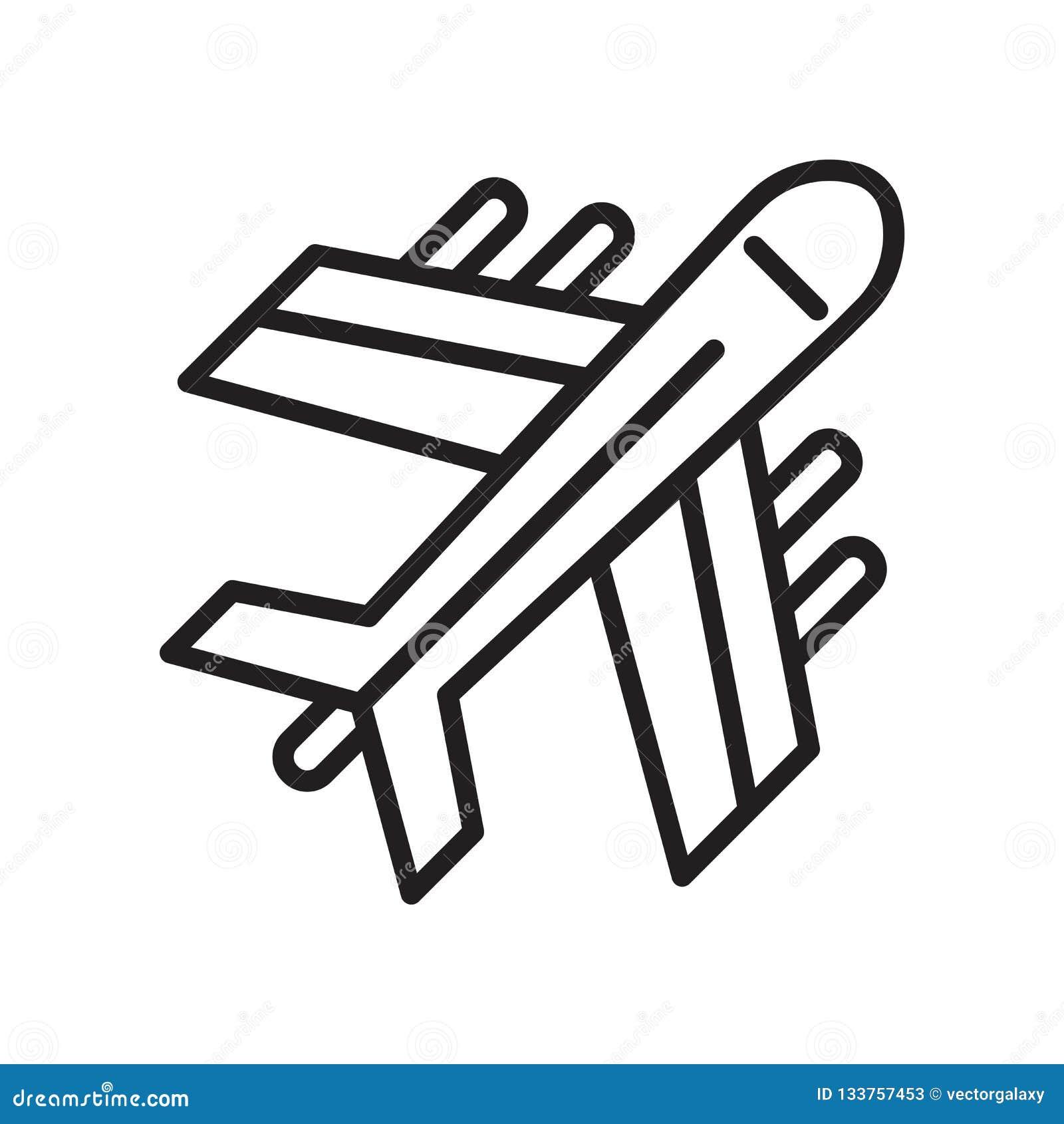 Het het vectordieteken en symbool van het vliegtuigpictogram op witte achtergrond, het concept van het Vliegtuigembleem wordt geï