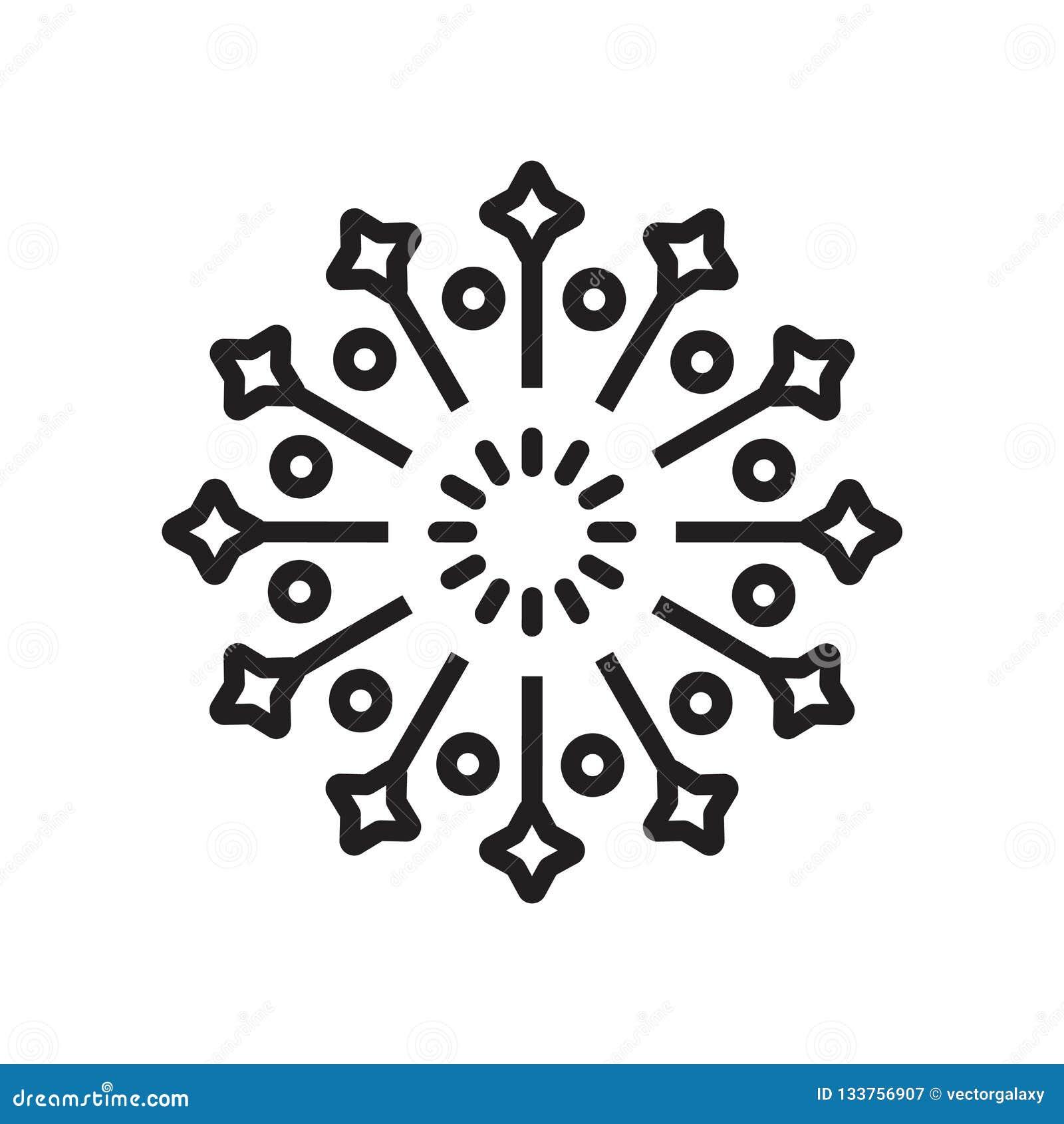 Het het vectordieteken en symbool van het vuurwerkpictogram op witte achtergrond, het concept van het Vuurwerkembleem wordt geïso