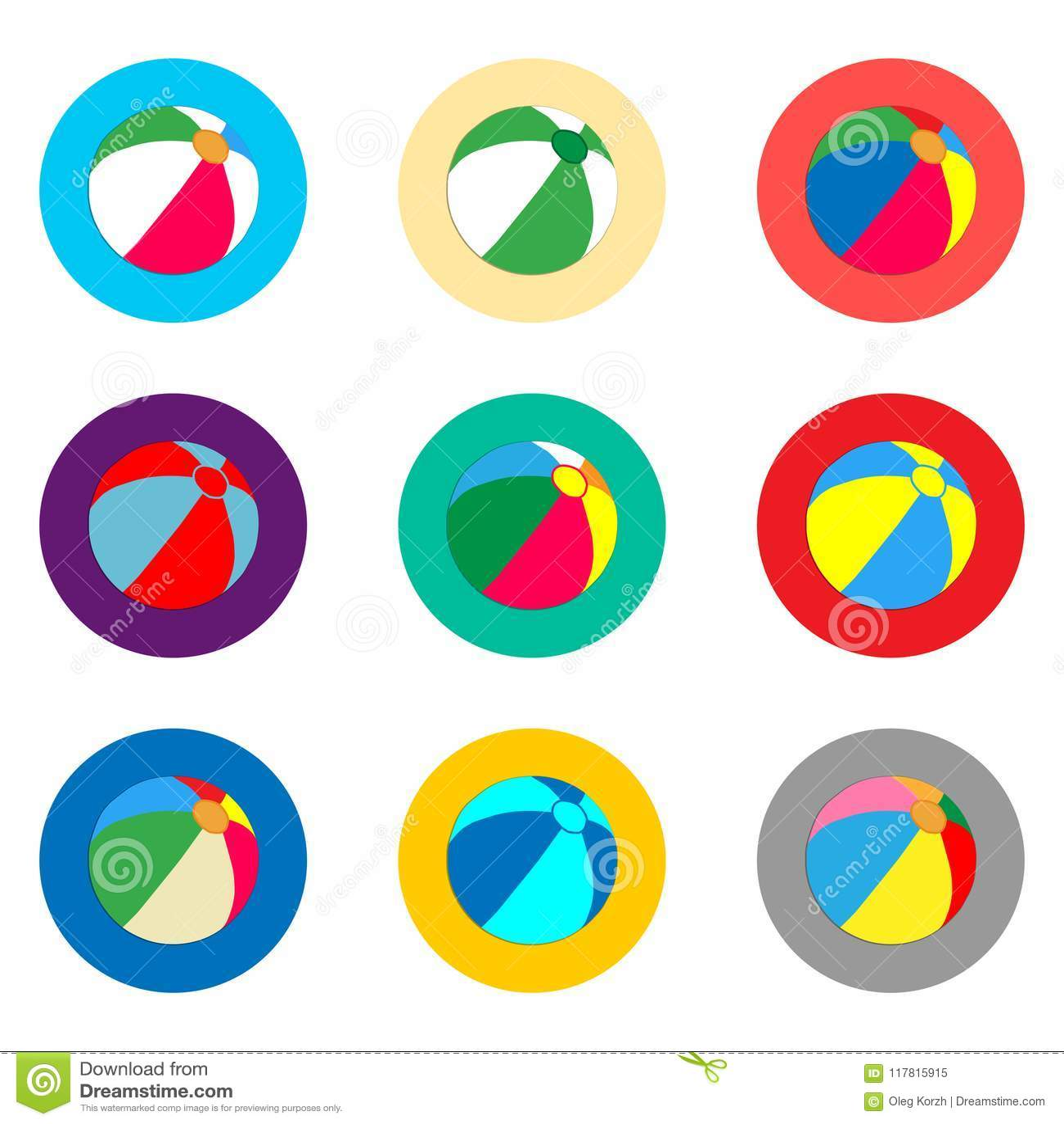 Het vectorembleem van de pictogramillustratie voor de vastgestelde bal van het symbolenstrand voor pla