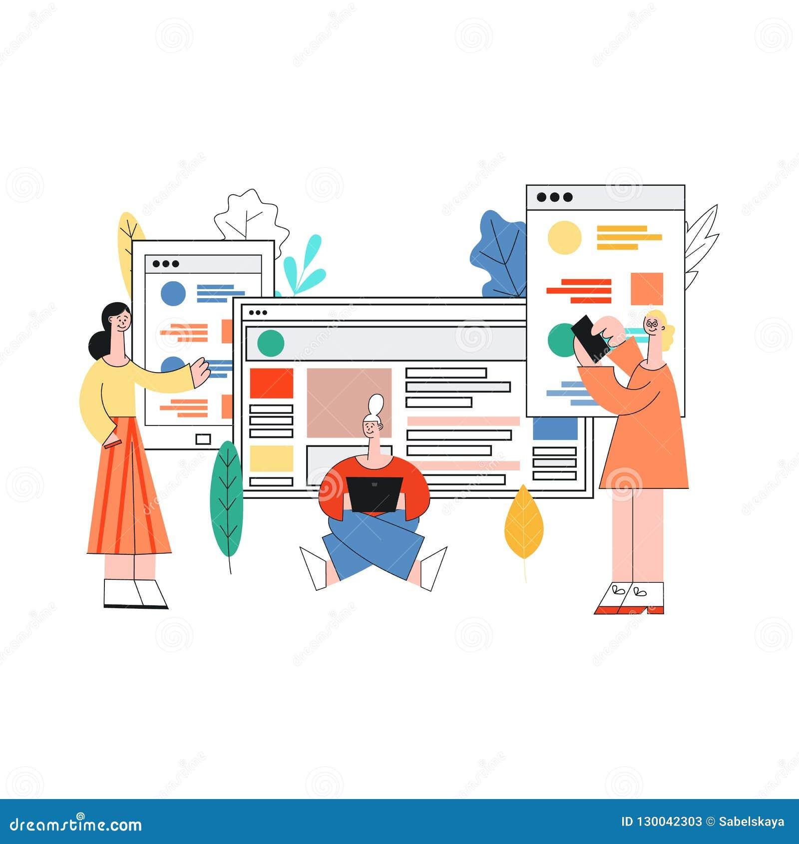 Het vectormeisje van de mobiele toepassingenontwikkeling, mensenlaptop