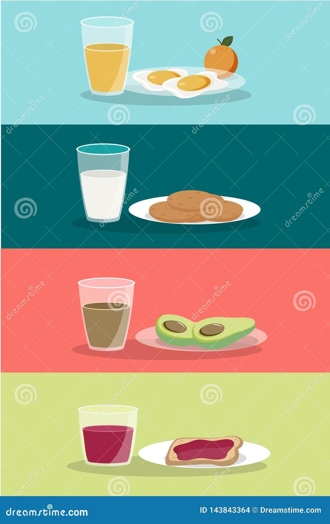 Het vectorontbijtconcept plaatste met voedsel en dranken met vlakke pictogrammen in samenstelling De sandwich en de omelet van de