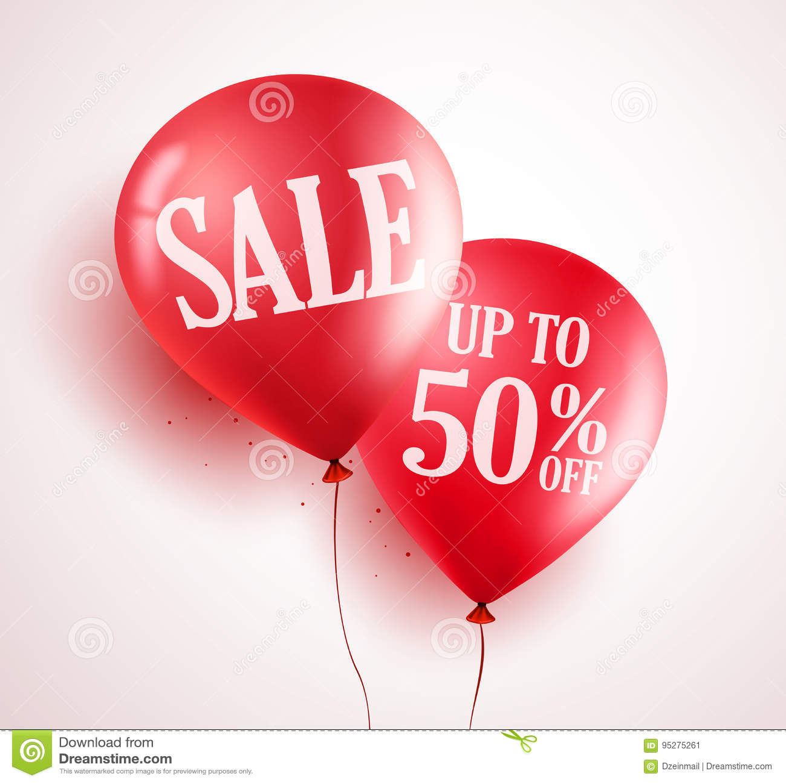 Het vectorontwerp van verkoopballons met 50  van rode kleur op witte achtergrond