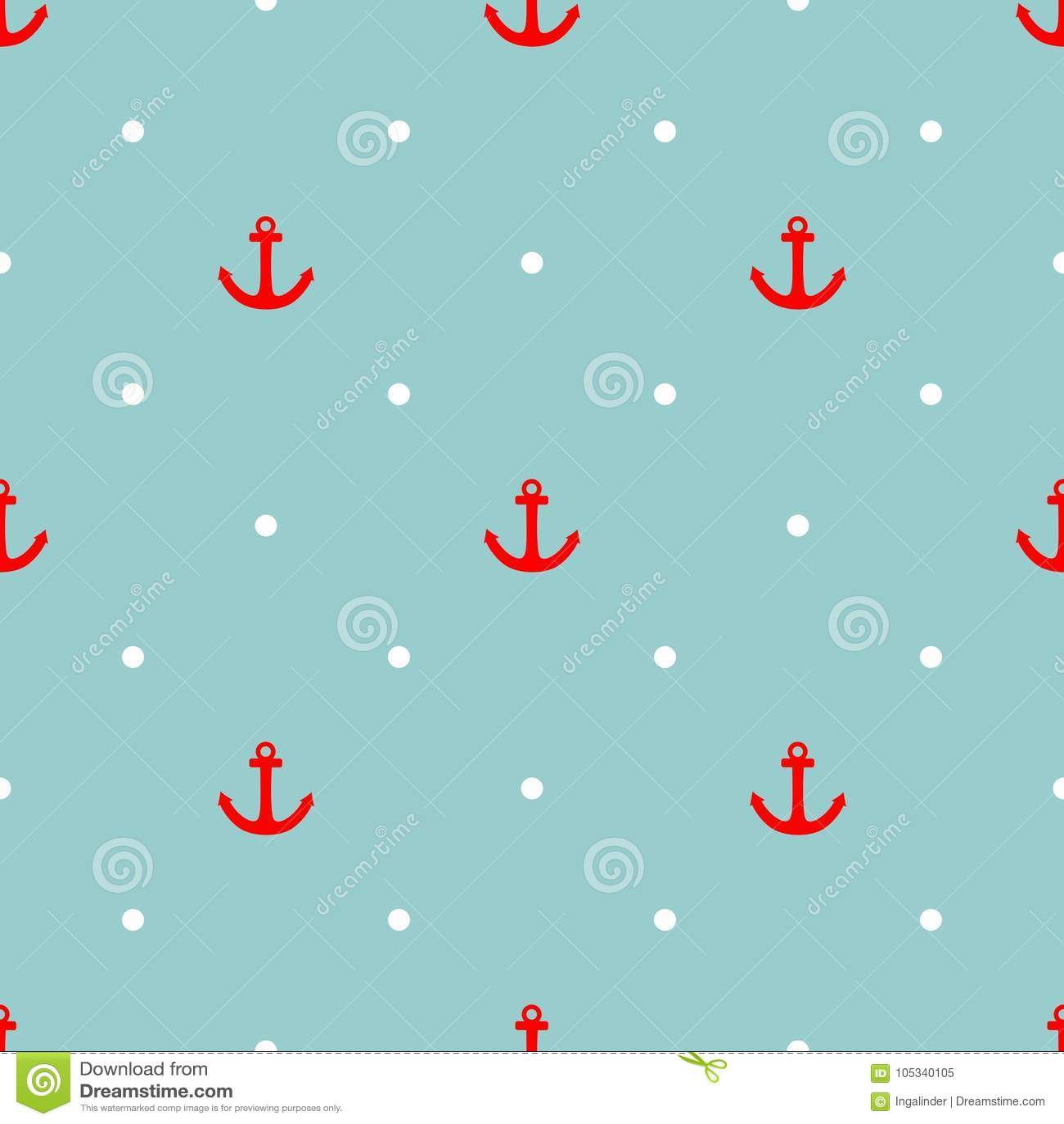 Het vectorpatroon van de tegelzeeman met rood anker en witte stippen