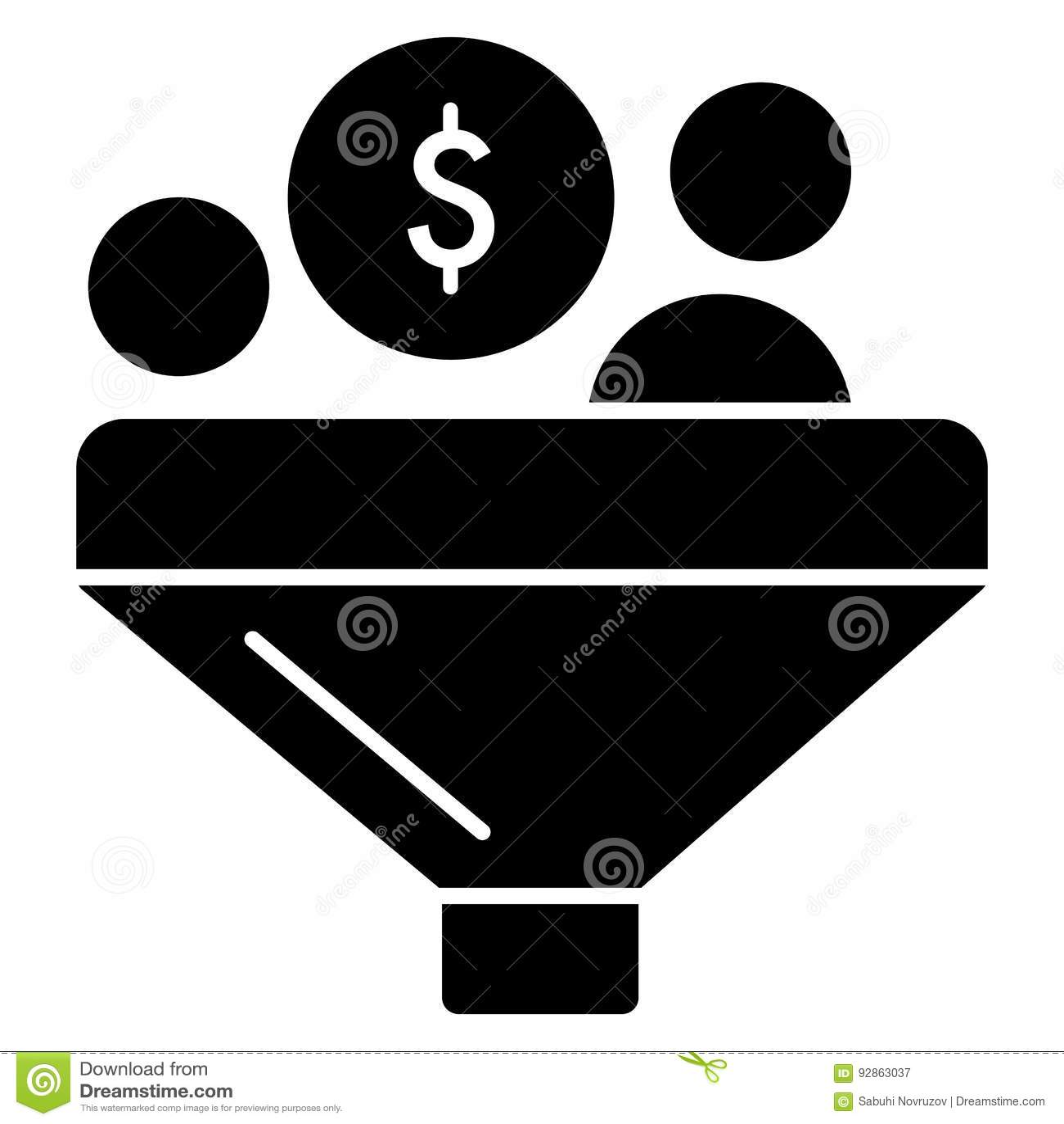 Het vectorpictogram van de omzettingsdollar Zwart-witte trechter en geldillustratie Stevig lineair financiënpictogram