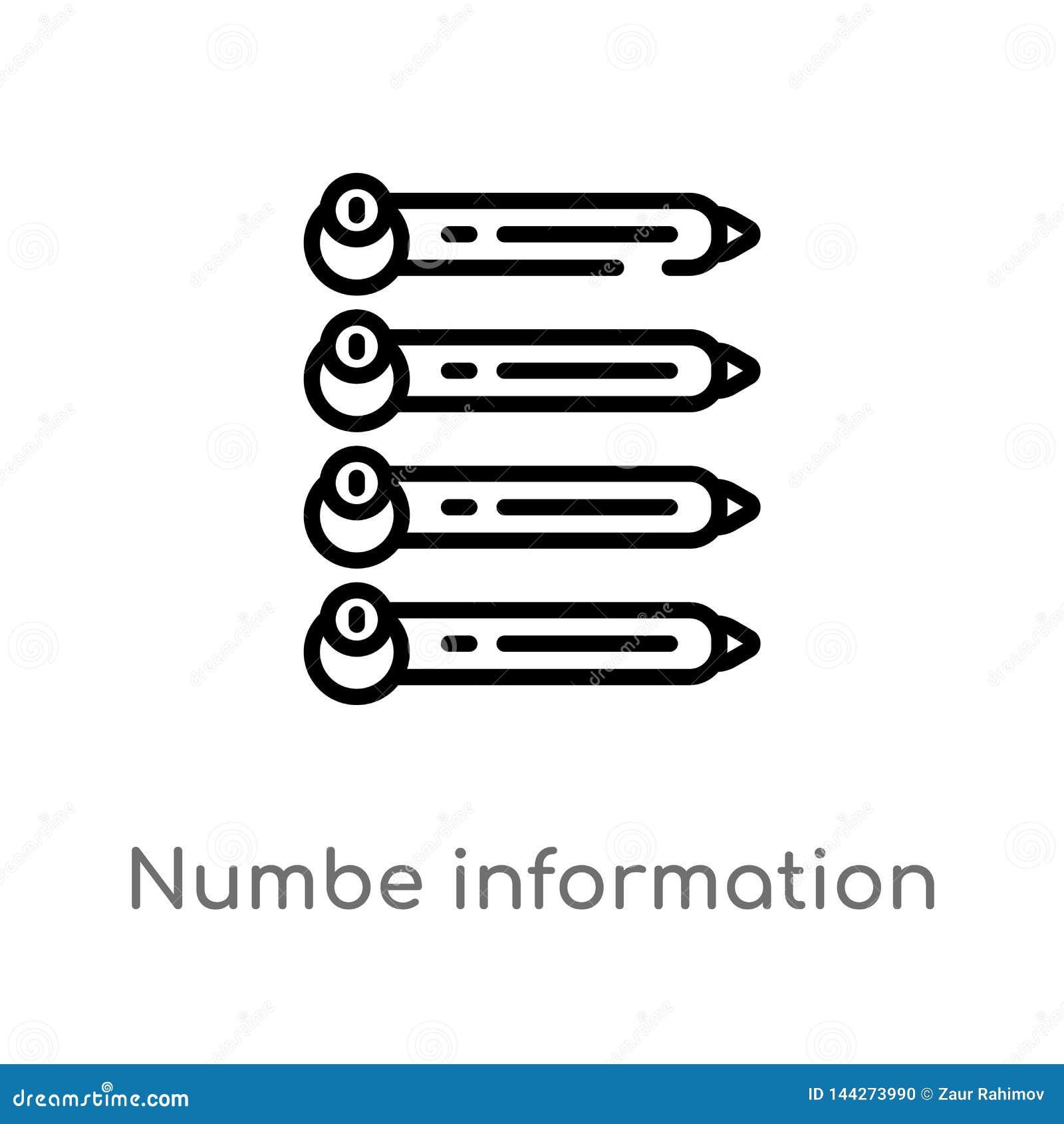 Het vectorpictogram van de overzichts numbe informatie de geïsoleerde zwarte eenvoudige illustratie van het lijnelement van bedri
