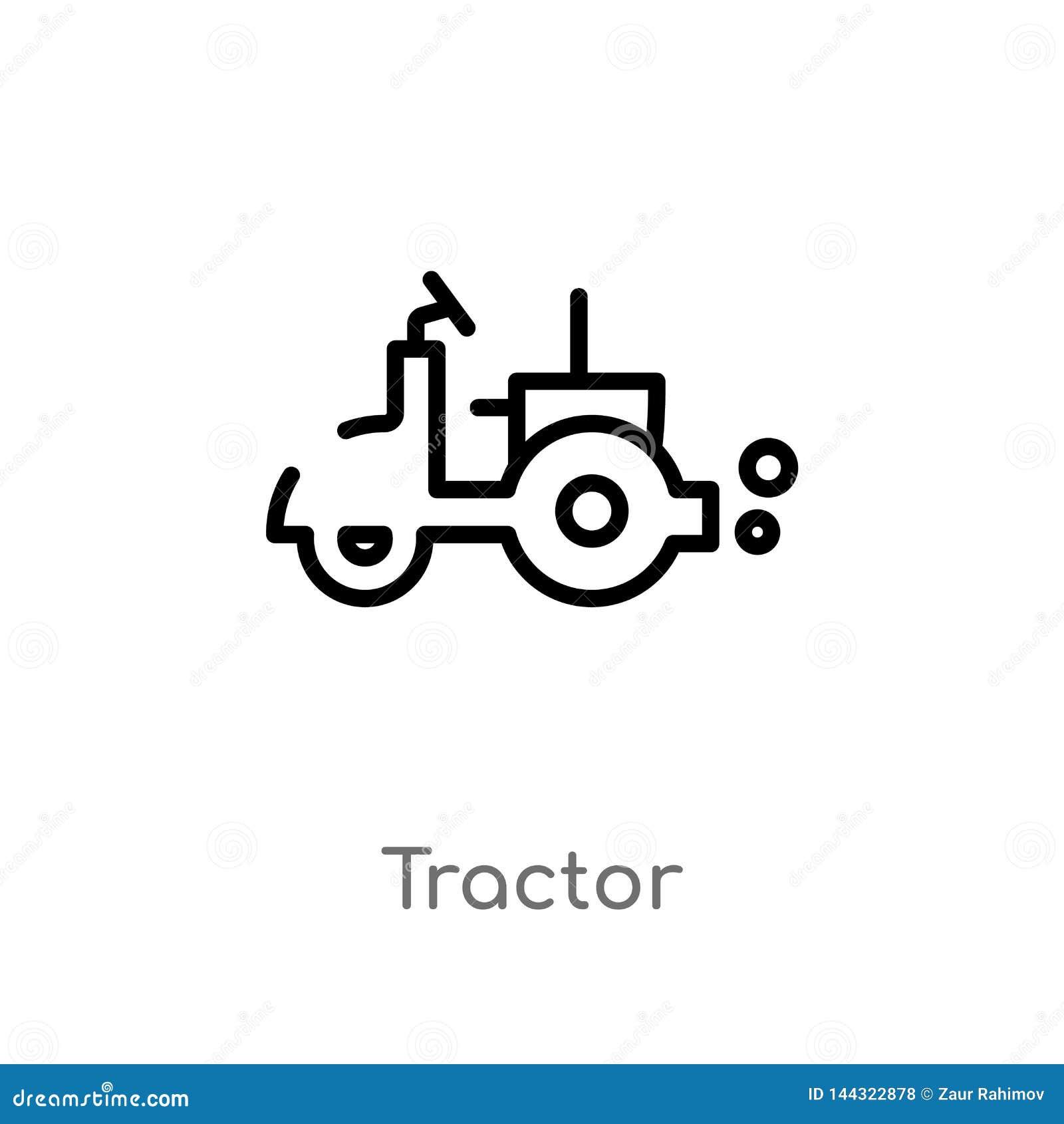 Het vectorpictogram van de overzichtstractor de ge?soleerde zwarte eenvoudige illustratie van het lijnelement van de landbouwconc