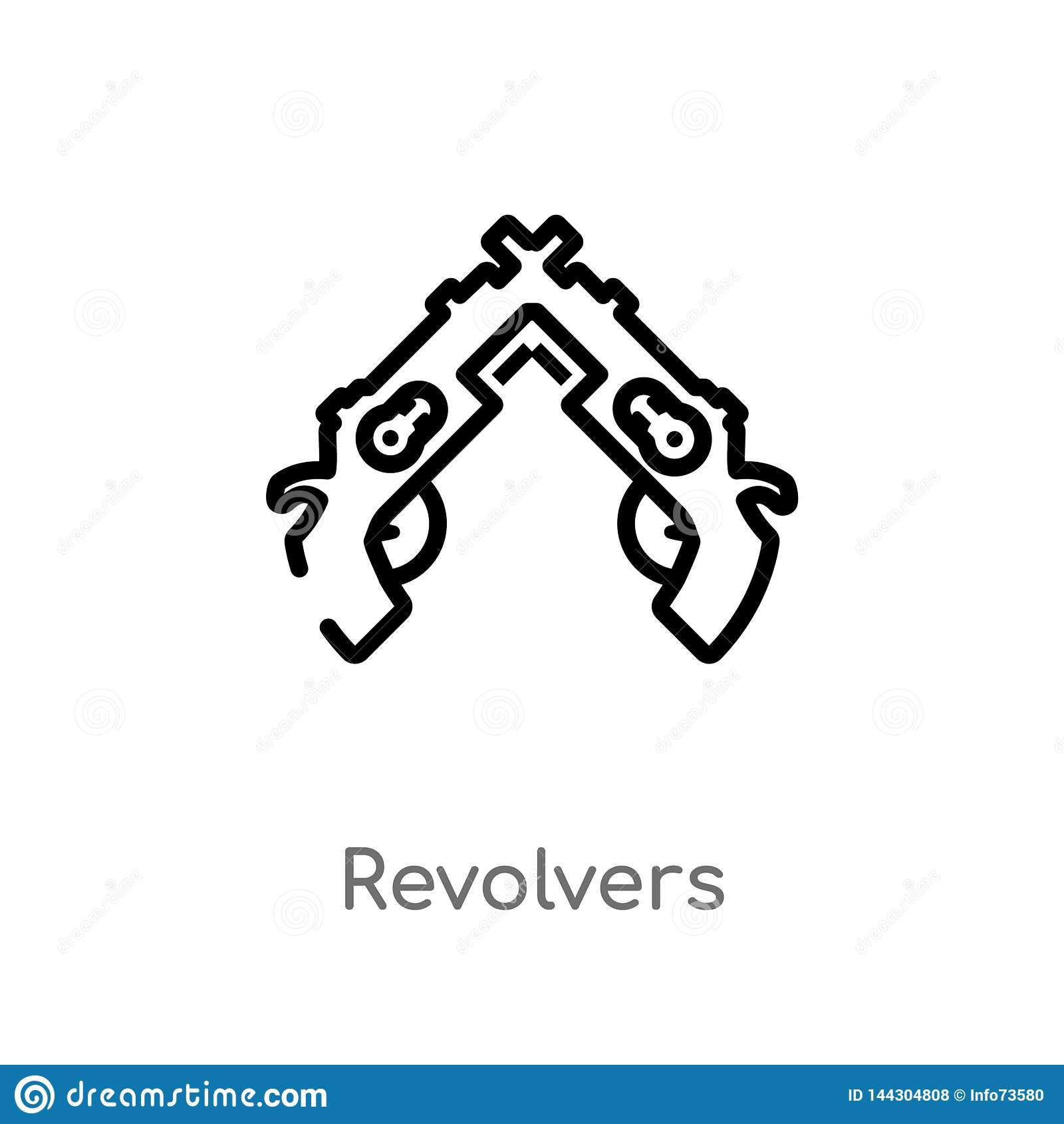 Het vectorpictogram van overzichtsrevolvers de ge?soleerde zwarte eenvoudige illustratie van het lijnelement van wapensconcept Ed