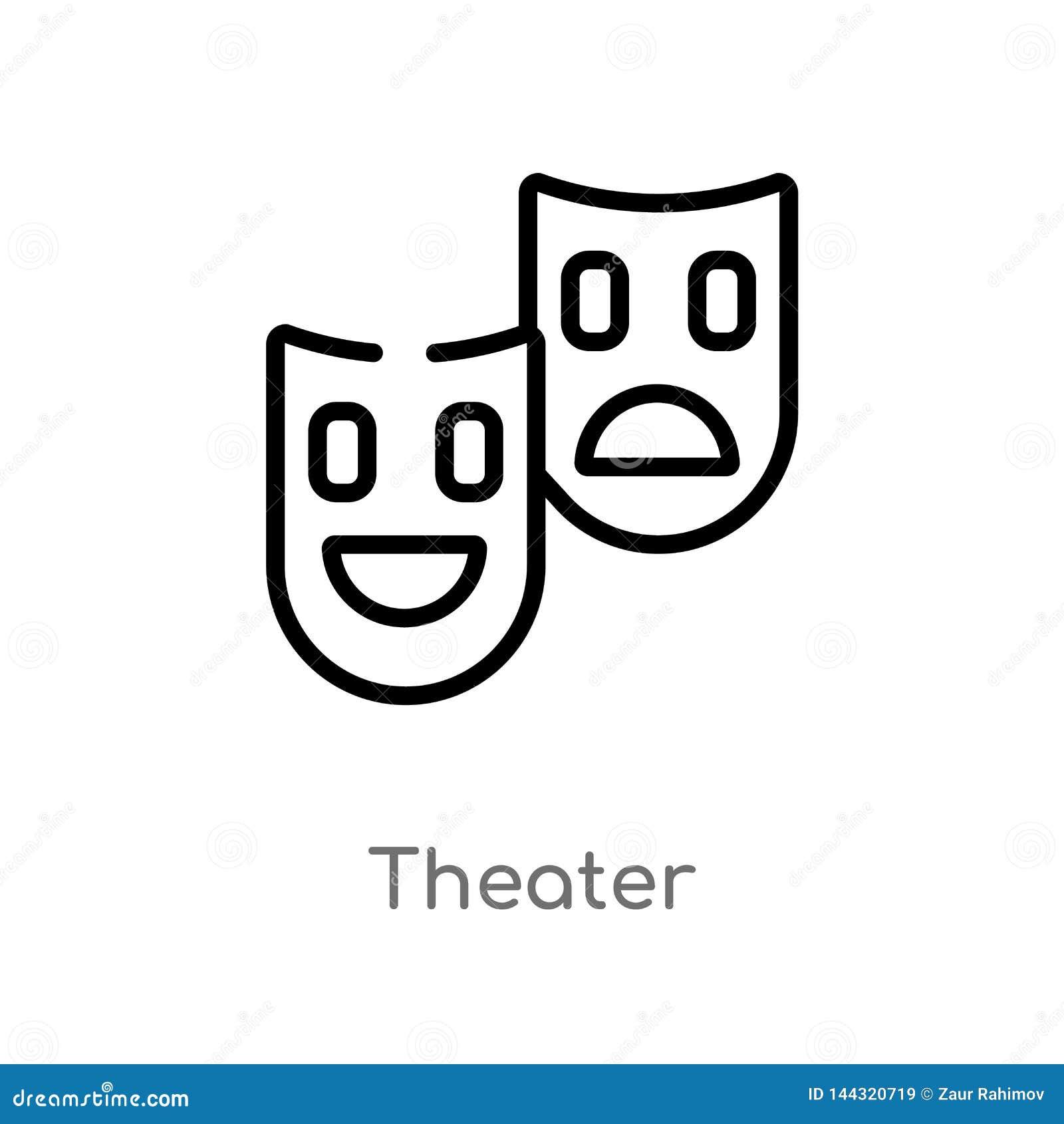 Het vectorpictogram van het overzichtstheater de ge?soleerde zwarte eenvoudige illustratie van het lijnelement van technologiecon
