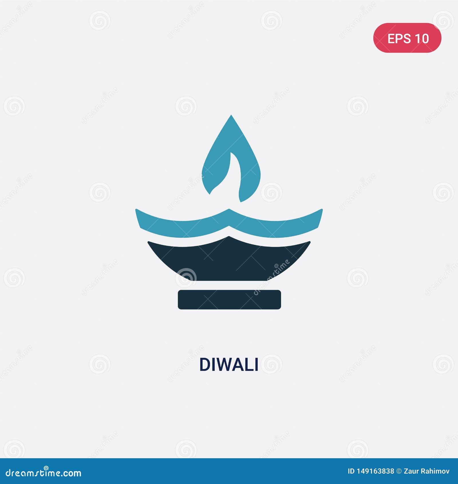 Het vectorpictogram van twee kleurendiwali van godsdienstconcept het geïsoleerde blauwe symbool van het diwali vectorteken kan ge
