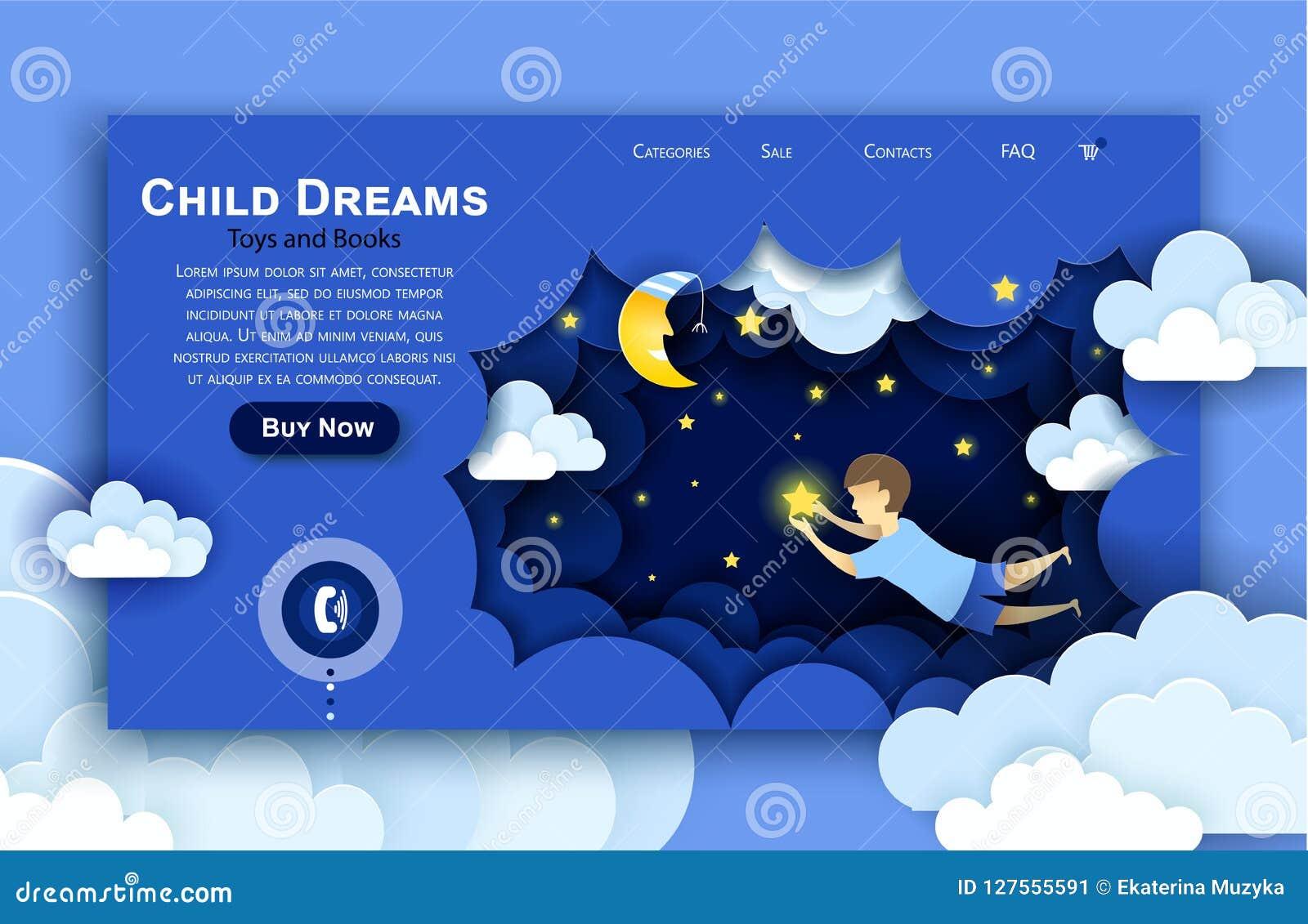Het vectorwebsitedocument malplaatje van het kunstontwerp Kind wat betreft de sterren in de hemel Jonge geitjesdroom Landende pag