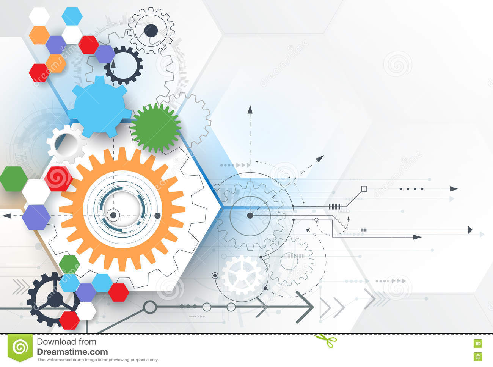 Het vectorwiel van het illustratietoestel, zeshoeken en kringsraad, Hi-tech digitale technologie en techniek