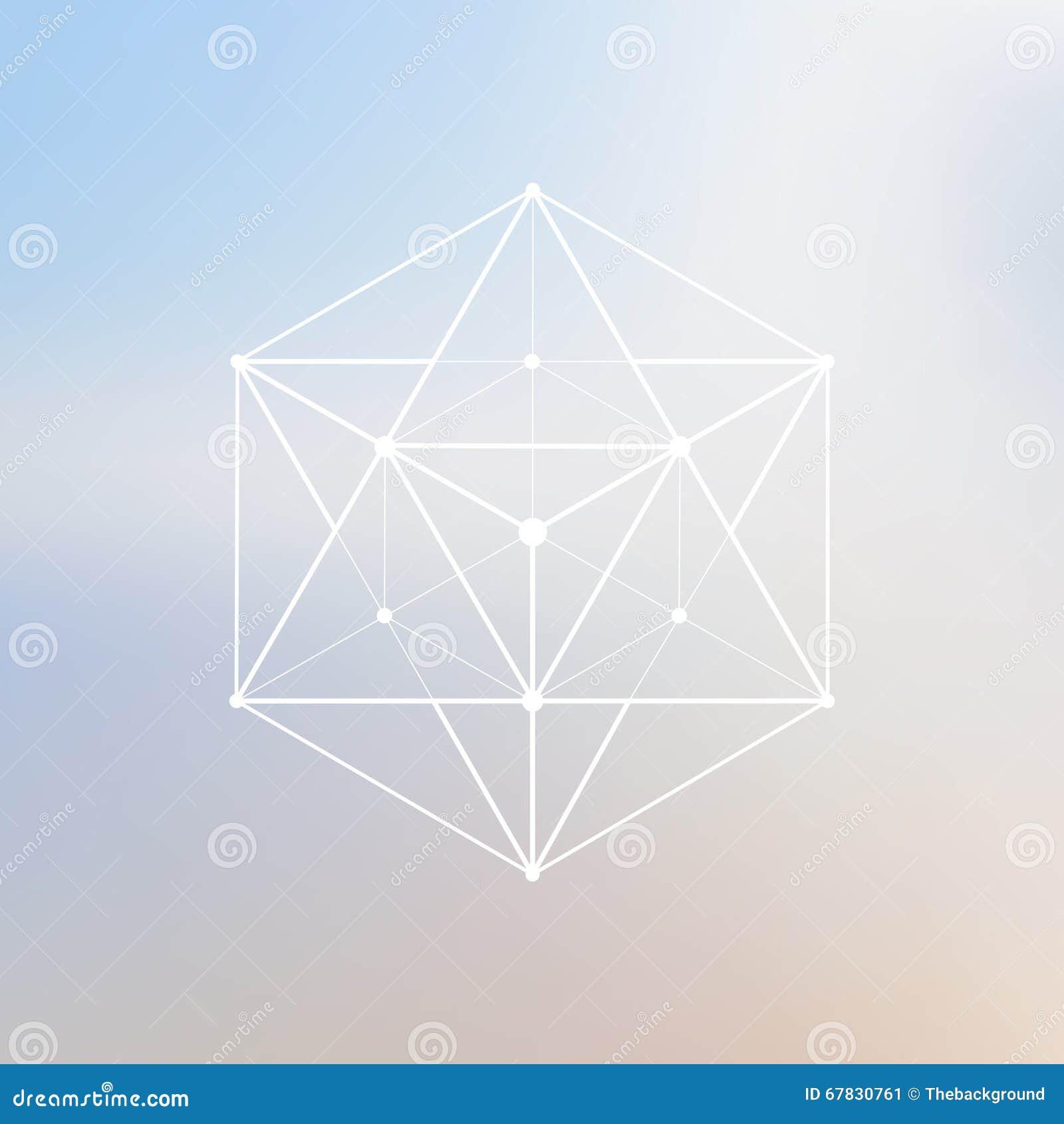 Het veelhoekige element van het Wireframenetwerk Veelhoek met verbonden lijnen a